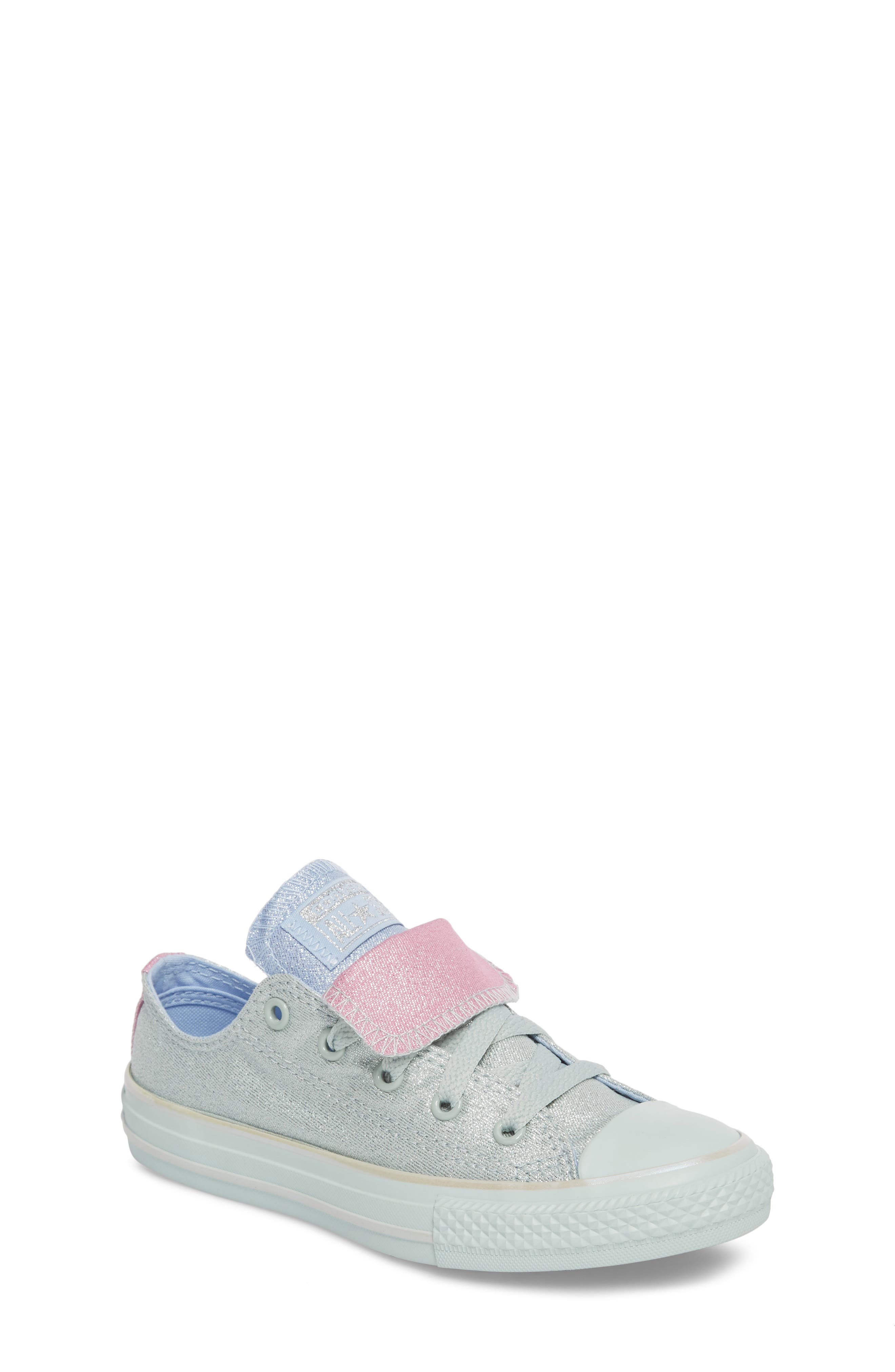All Star<sup>®</sup> Shimmer Double Tongue Sneaker,                             Main thumbnail 1, color,                             301
