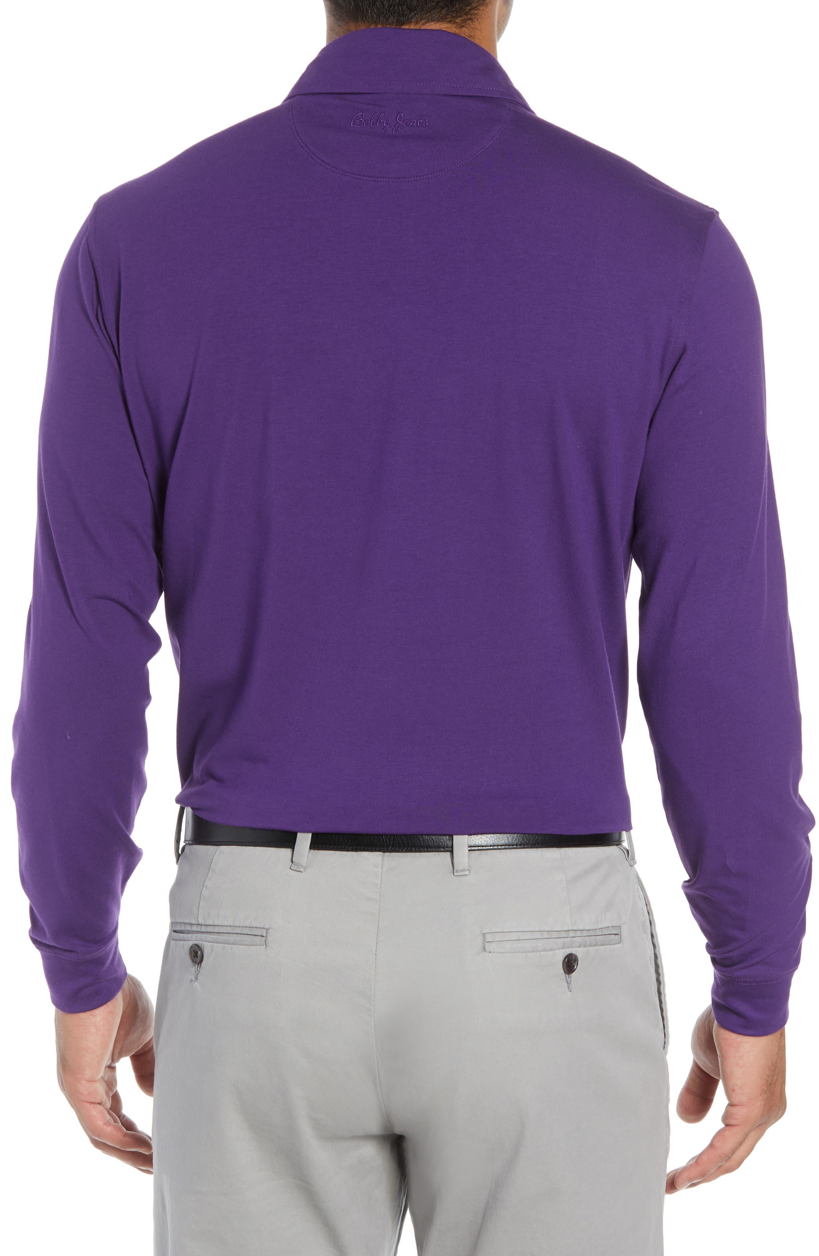 'Liquid Cotton' Long Sleeve Jersey Polo,                             Alternate thumbnail 2, color,                             PURPLE