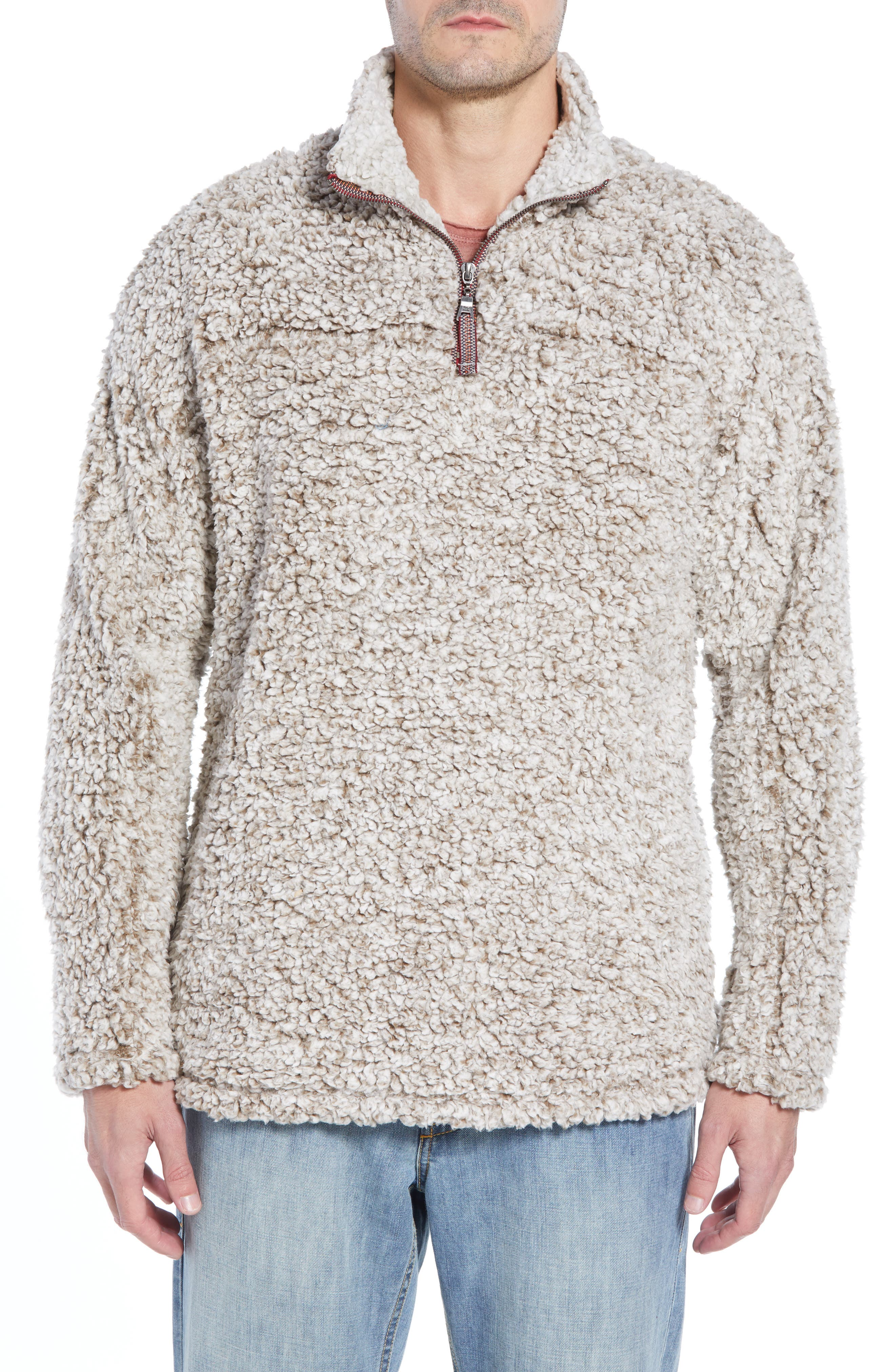 TRUE GRIT Frosty Tipped Quarter Zip Pullover, Main, color, BROWN