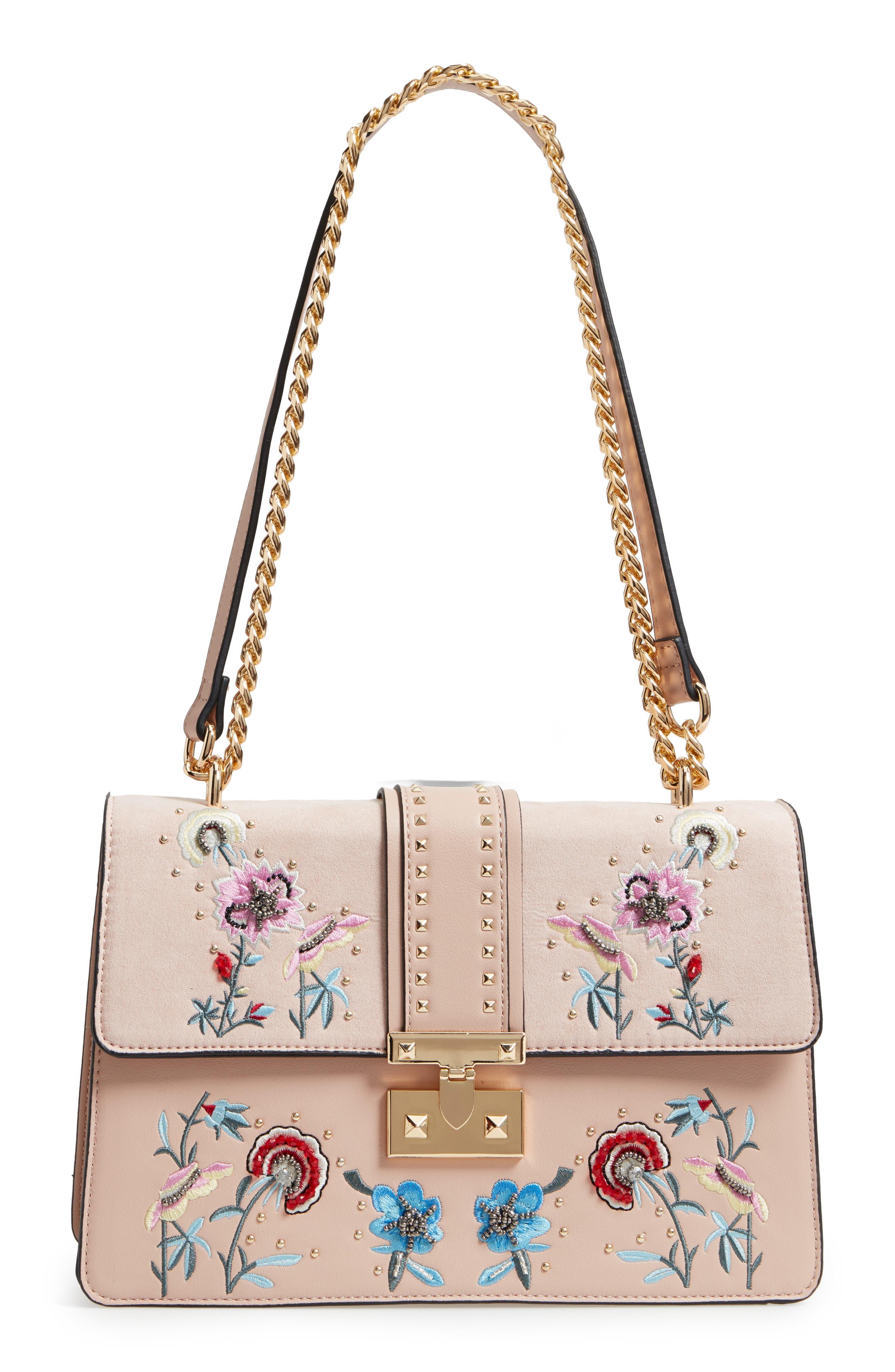 Darcy Floral Shoulder Bag,                             Main thumbnail 1, color,                             PINK MULTI
