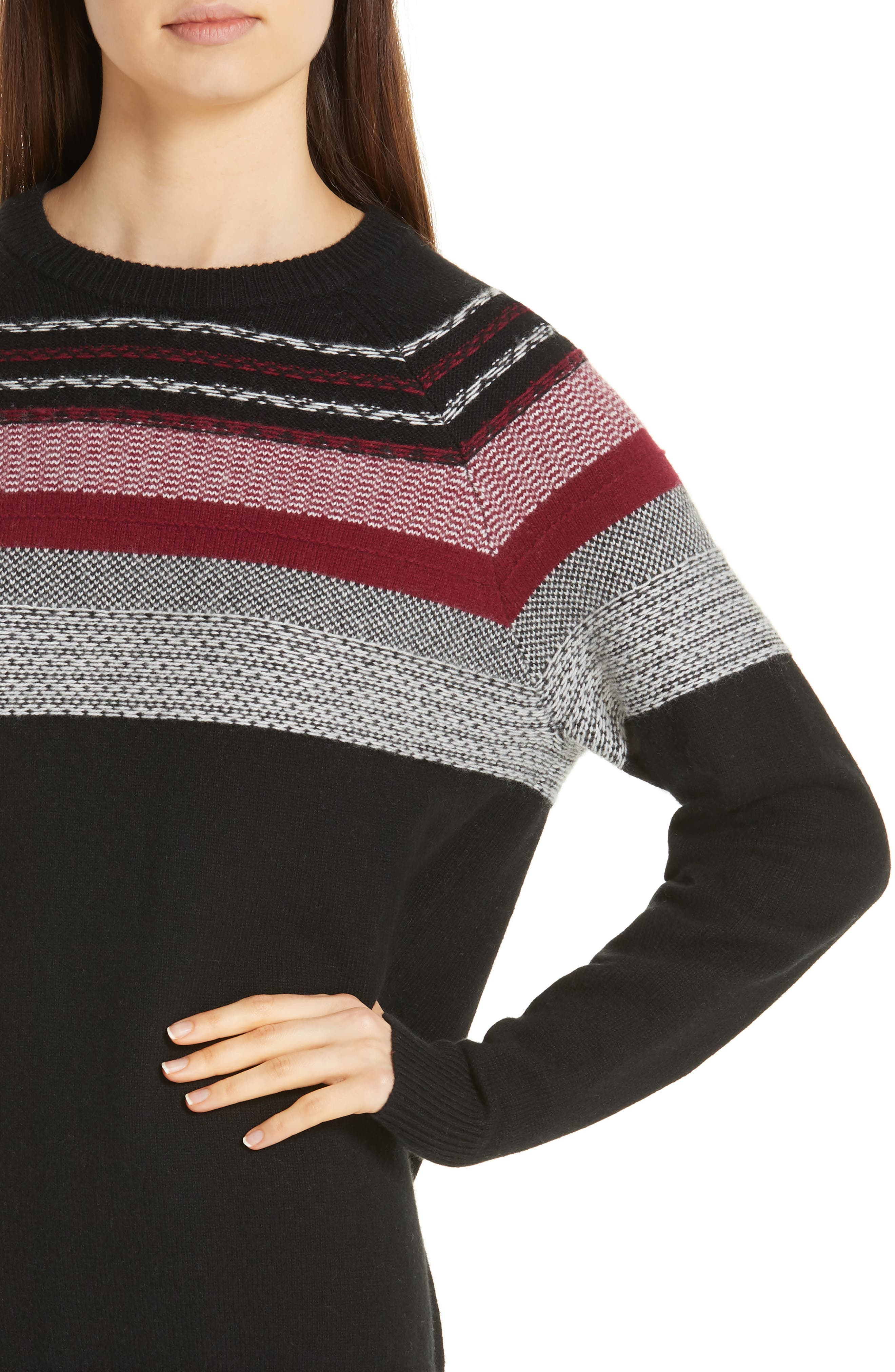 Fair Isle Merino Wool Blend Sweater,                             Alternate thumbnail 4, color,                             BLACK/ RED COMBO