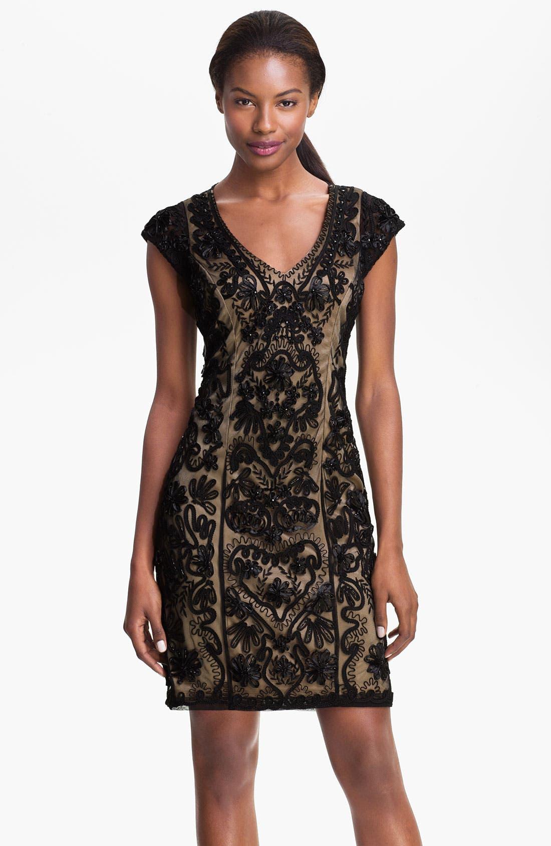 Embellished Illusion Back Sheath Dress,                             Main thumbnail 1, color,                             001