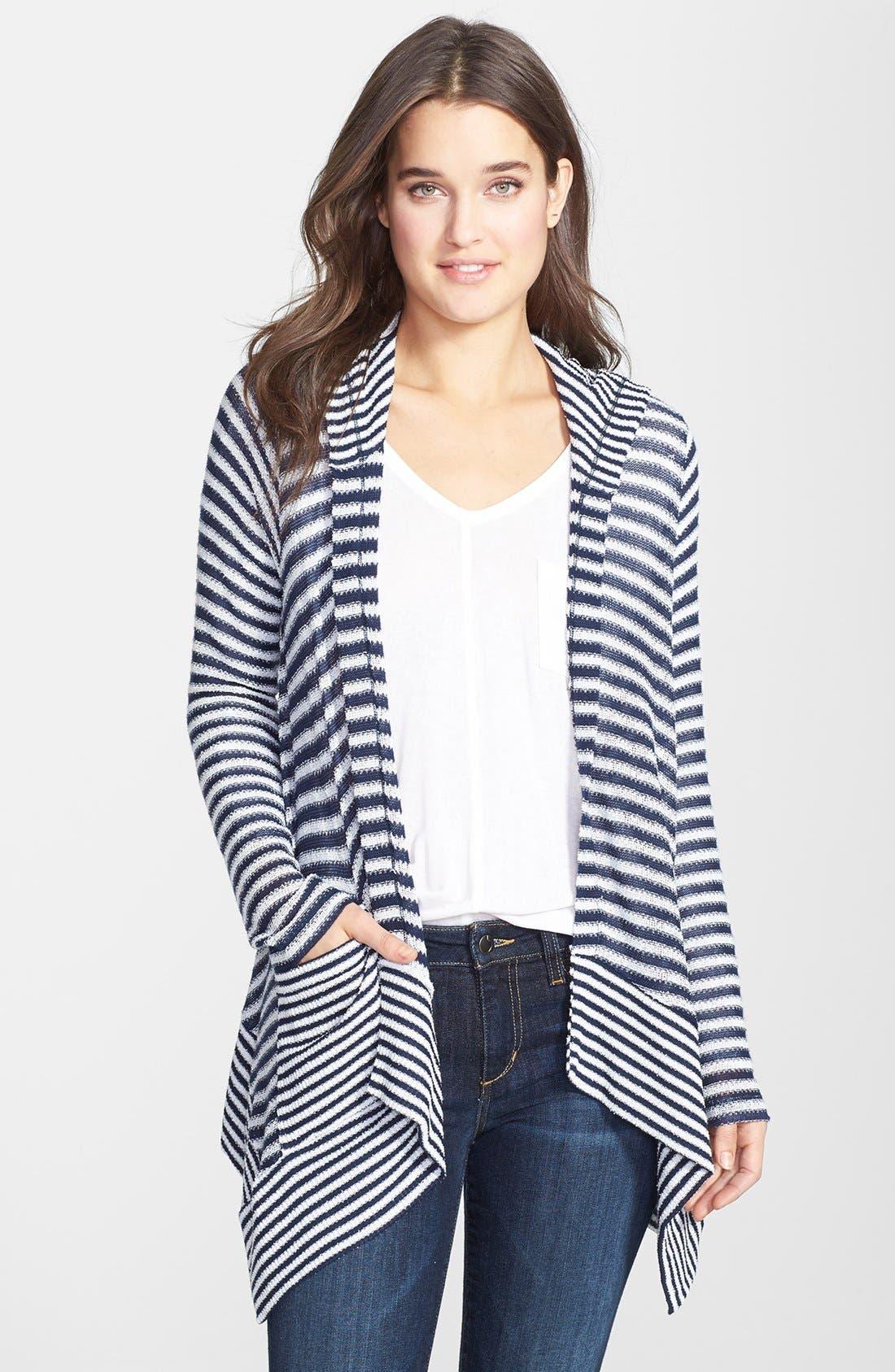 SPLENDID Hooded Stripe Cardigan, Main, color, 411