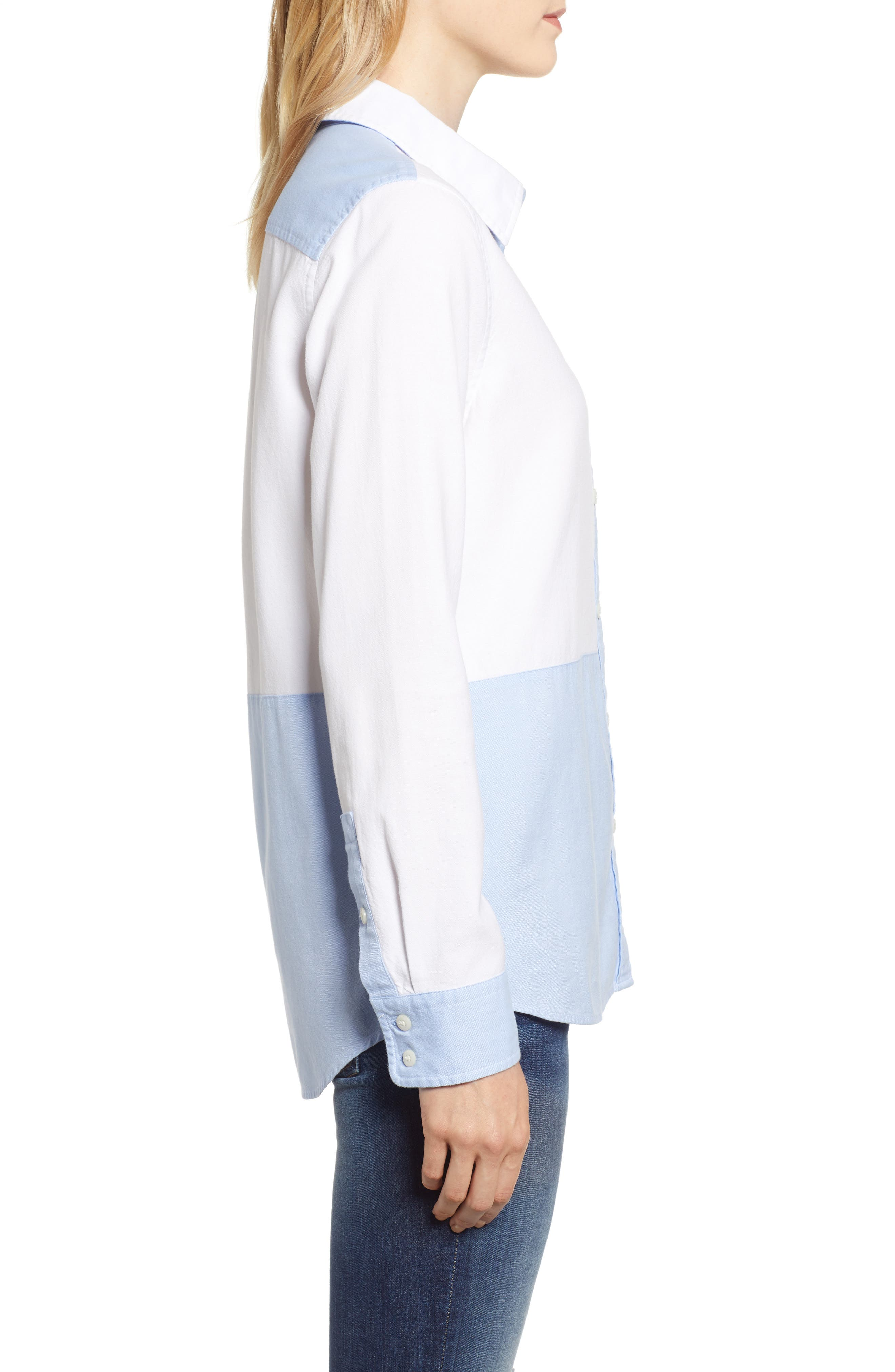 Colorblock Relaxed Oxford Blouse,                             Alternate thumbnail 3, color,                             WHITE CAP