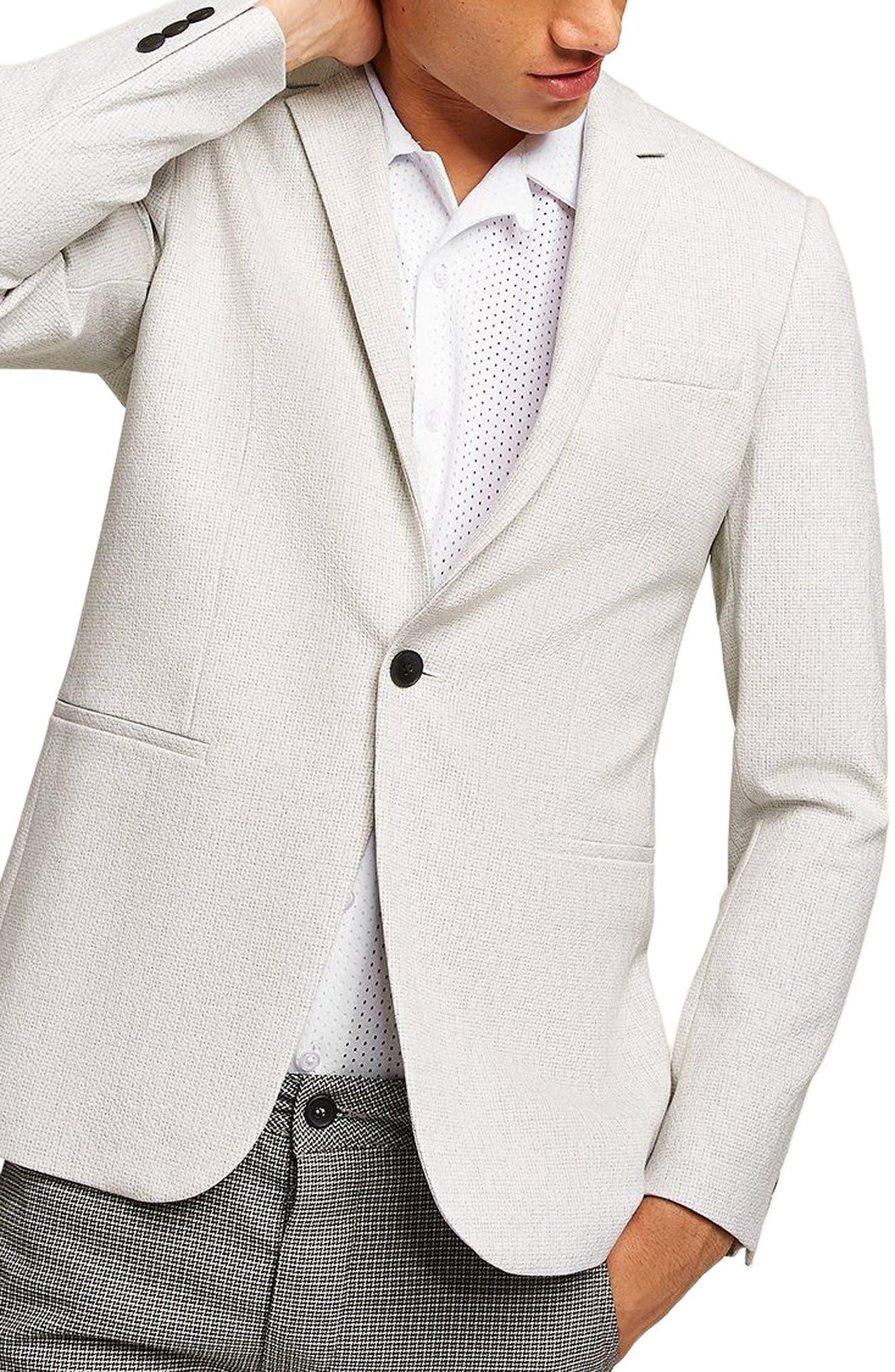 Lionis Skinny Fit Textured Sport Coat,                         Main,                         color, LIGHT GREY
