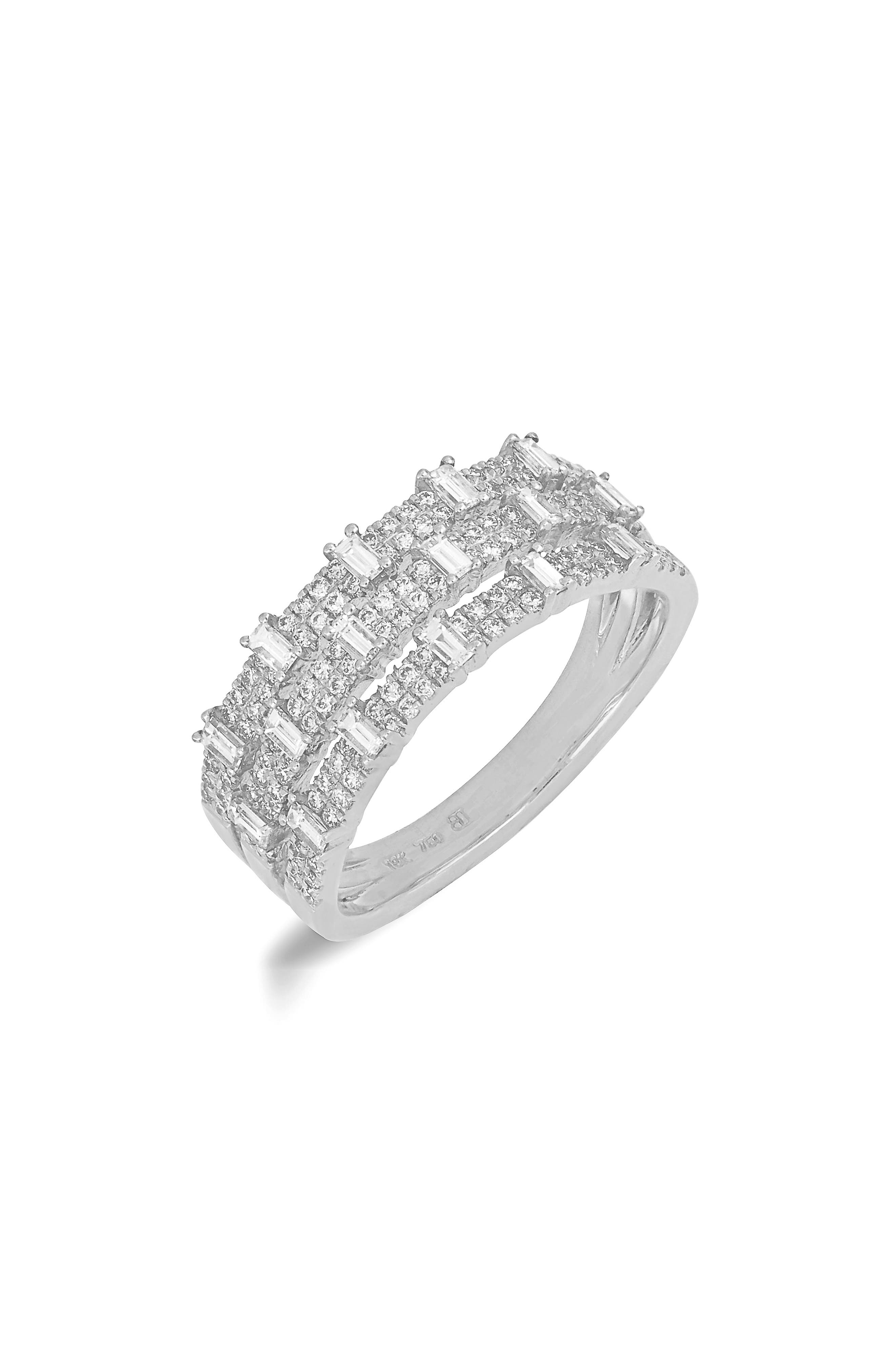 Wide Diamond Ring,                             Main thumbnail 1, color,                             WHITE GOLD