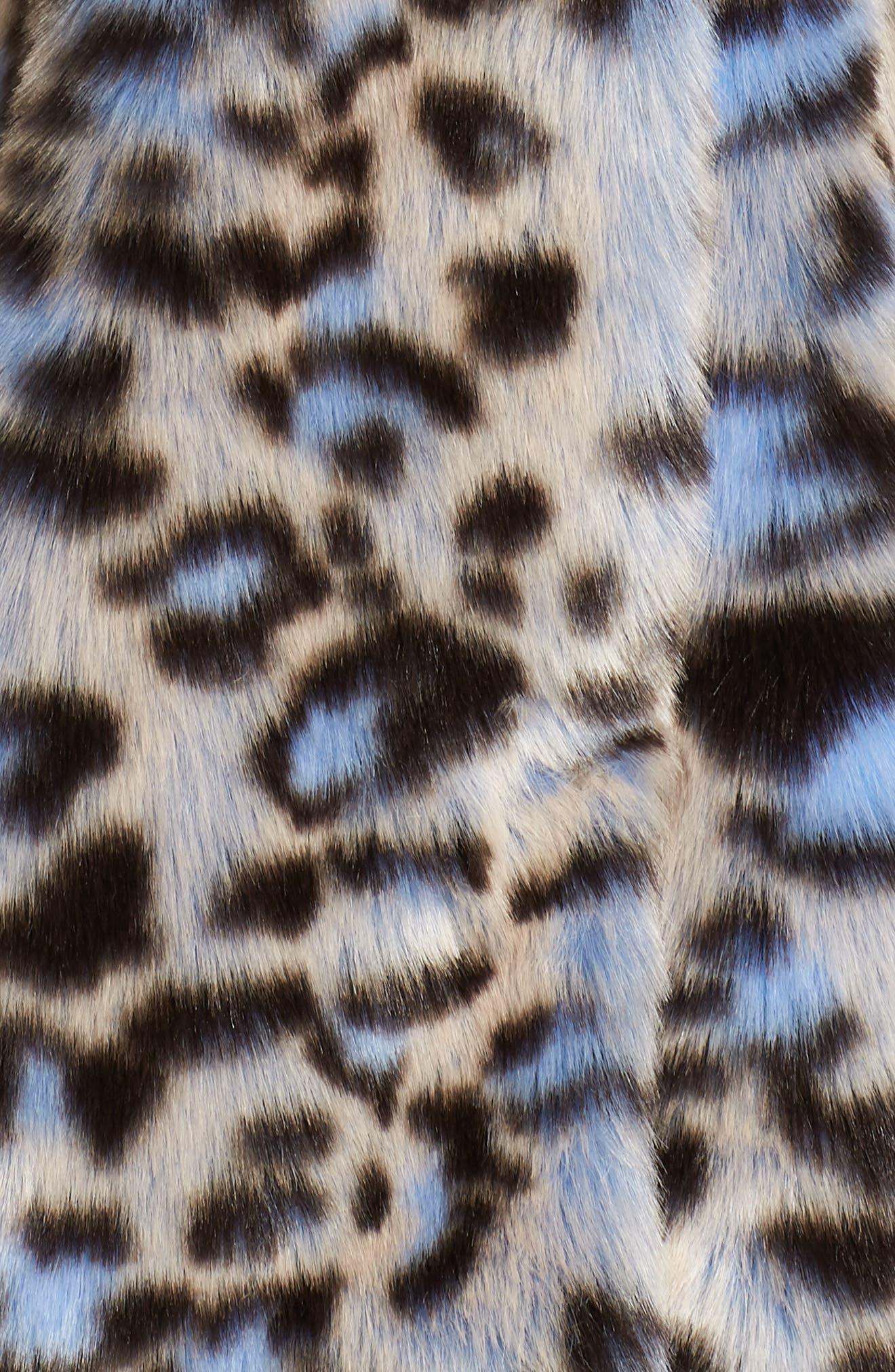 Animal Print Faux Fur Coat,                             Alternate thumbnail 7, color,                             BLUE LEOPARD