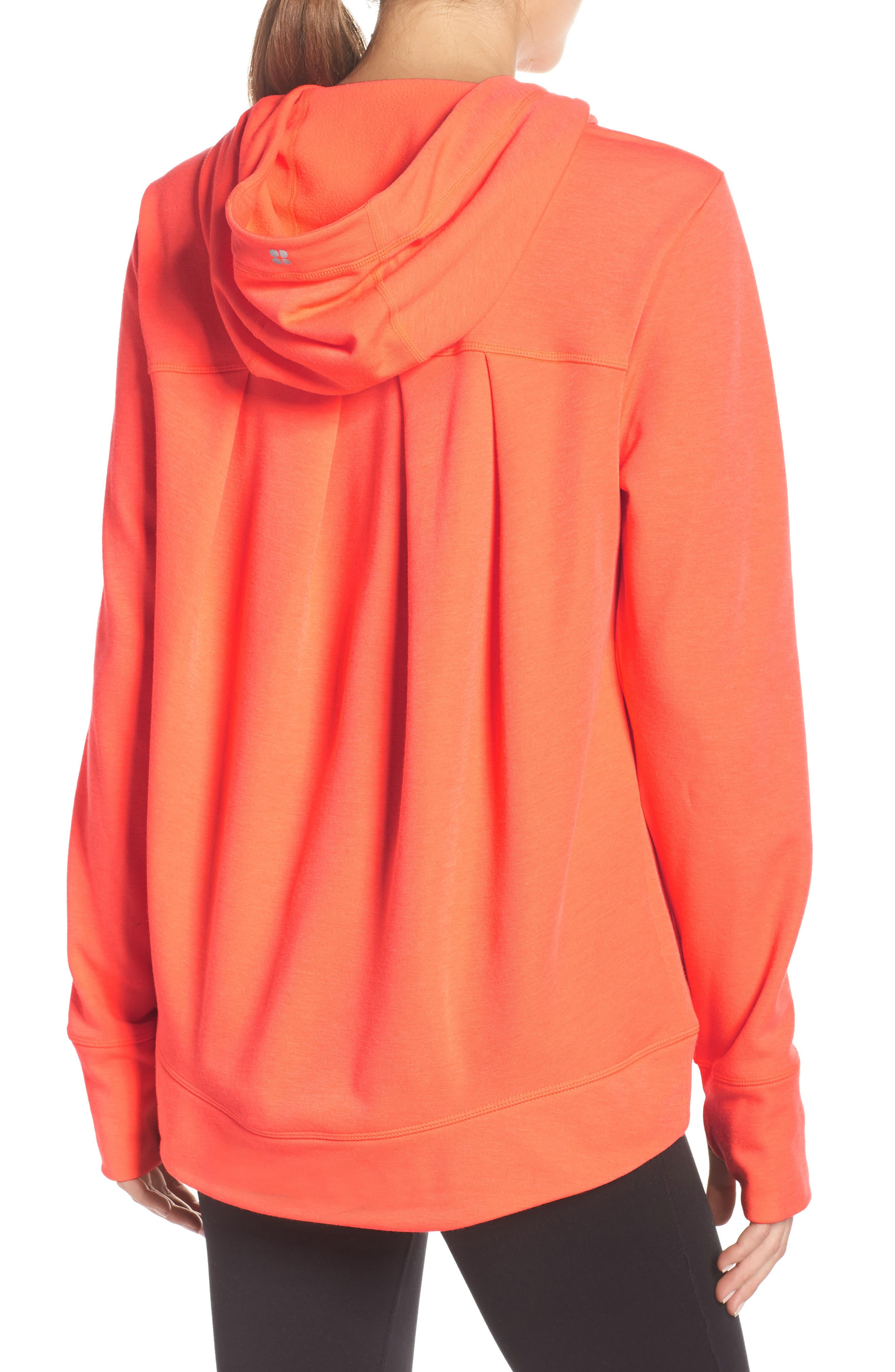 Pleated Tech Run Hoodie,                             Alternate thumbnail 2, color,                             CORAL