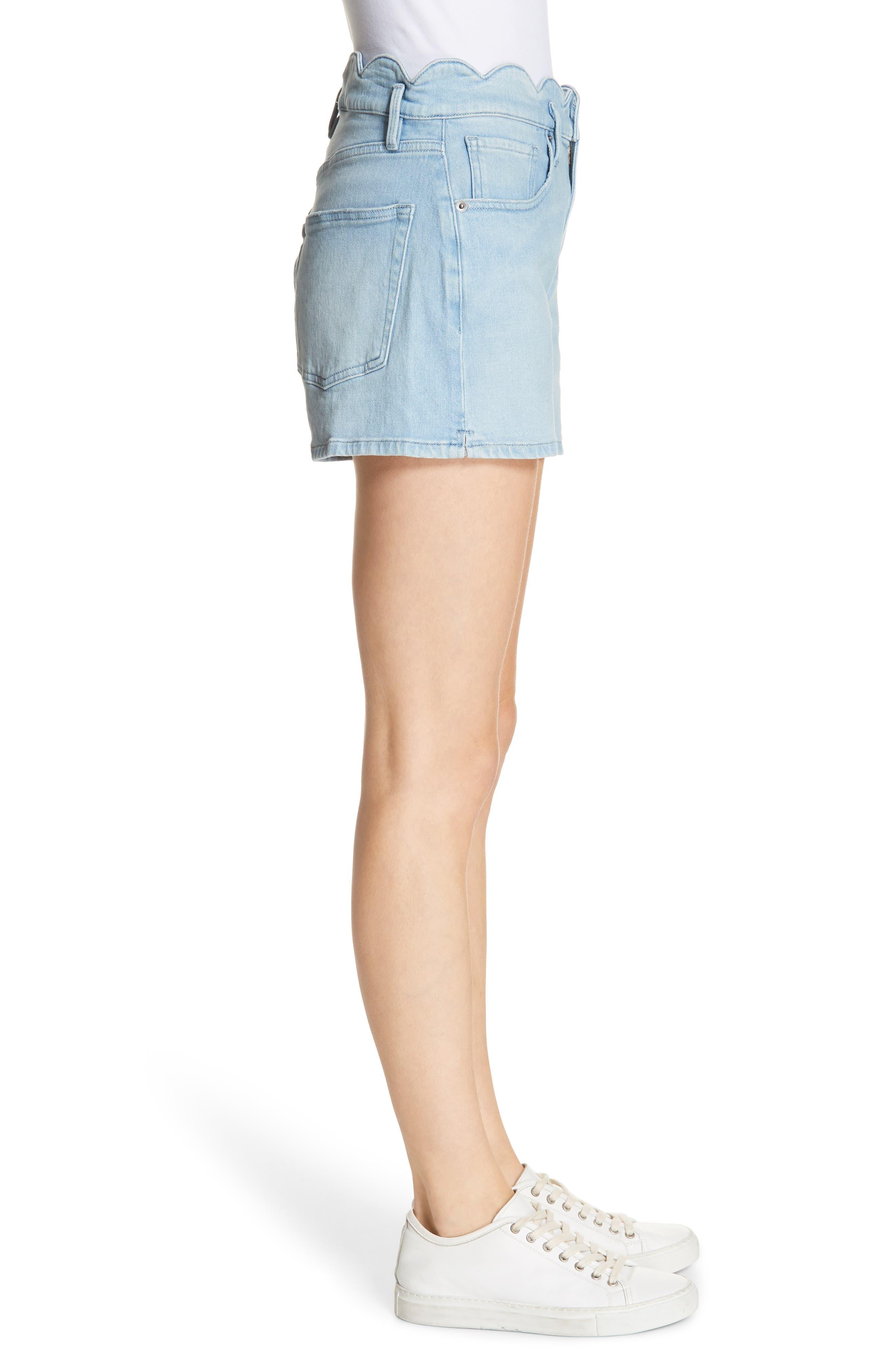 Scallop Waist Denim Shorts,                             Alternate thumbnail 3, color,                             WRIGHT