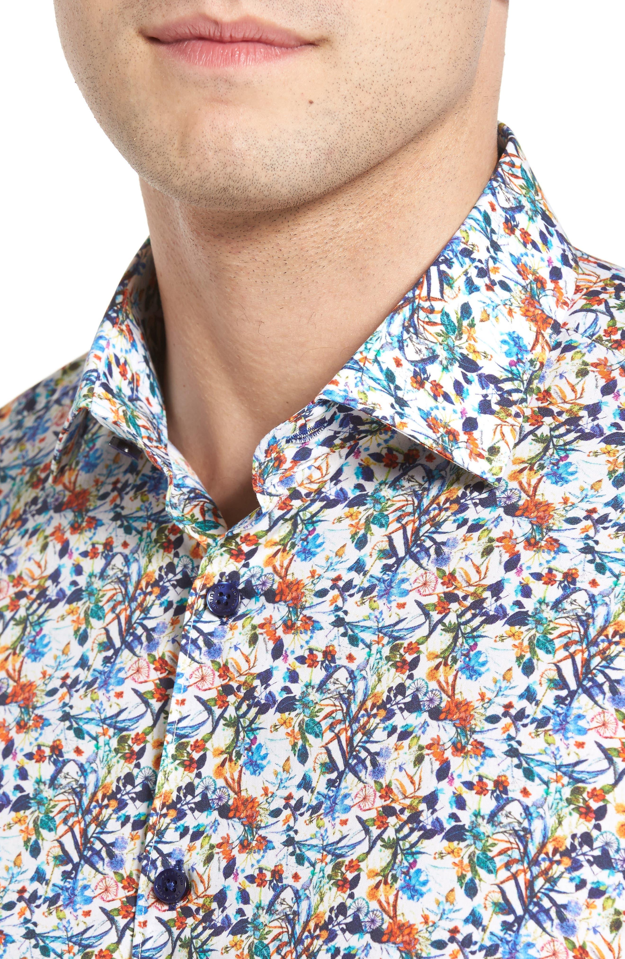 Trim Fit Floral Sport Shirt,                             Alternate thumbnail 4, color,                             100