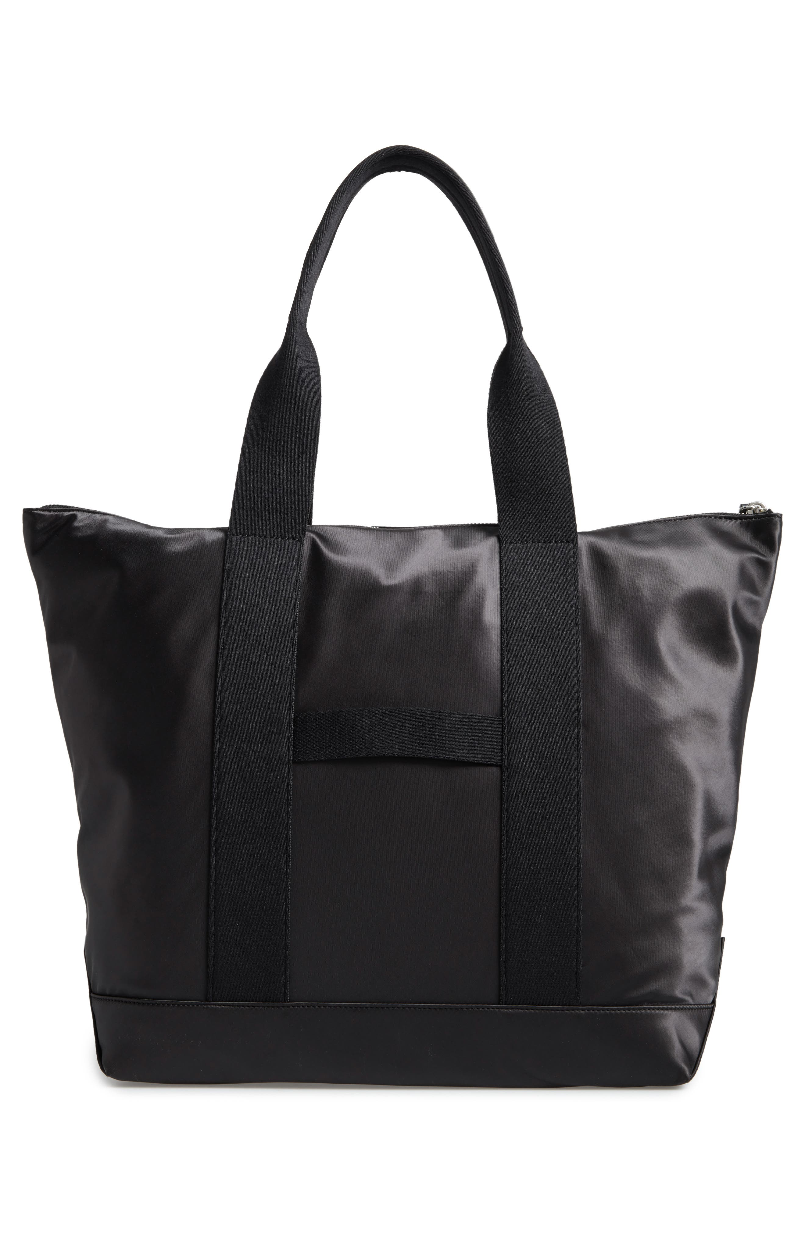 Satin Nylon Tote,                             Alternate thumbnail 3, color,                             001