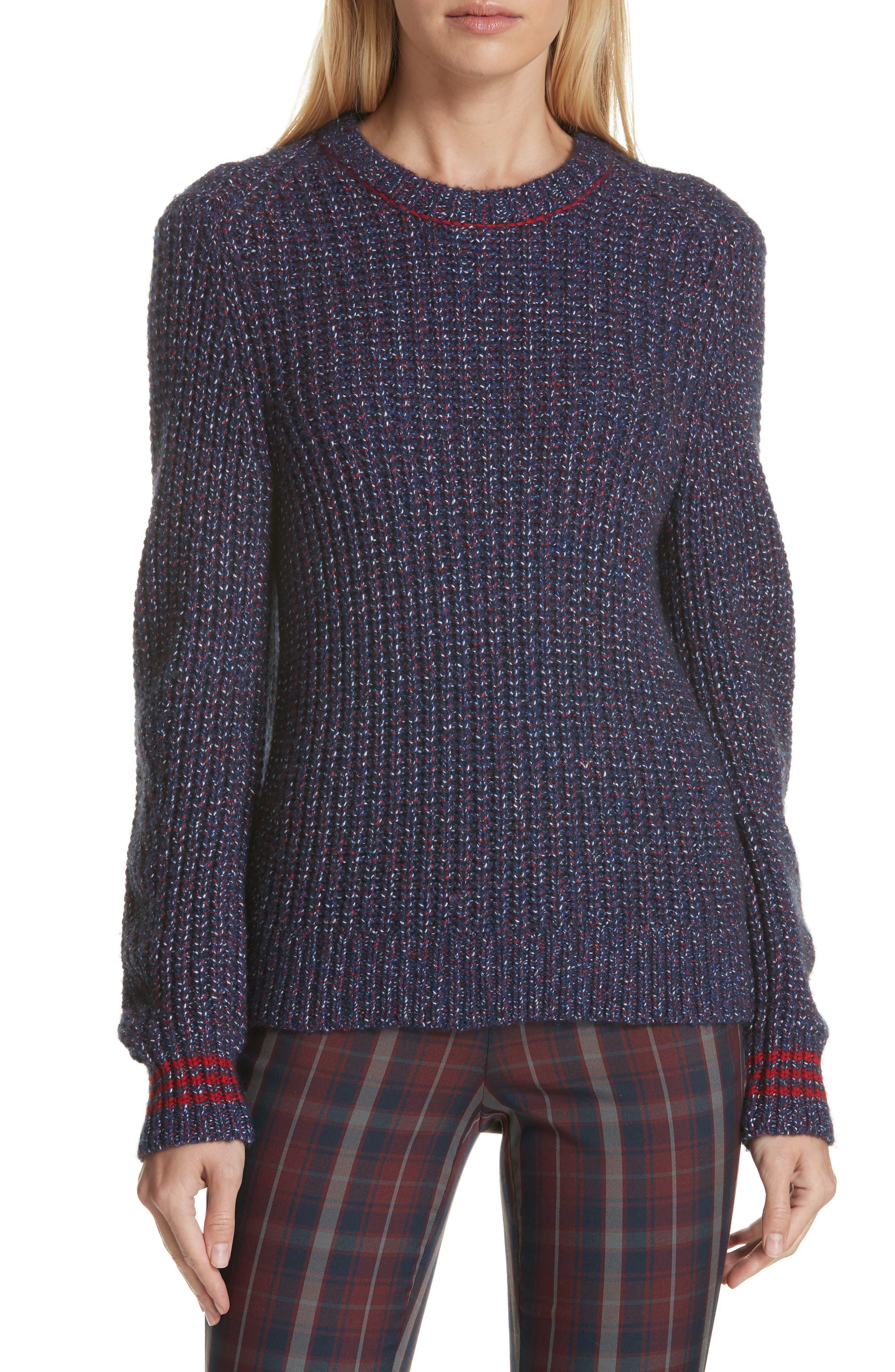 Rag & Bone Cheryl Stripe Cuff Wool Blend Sweater, Blue