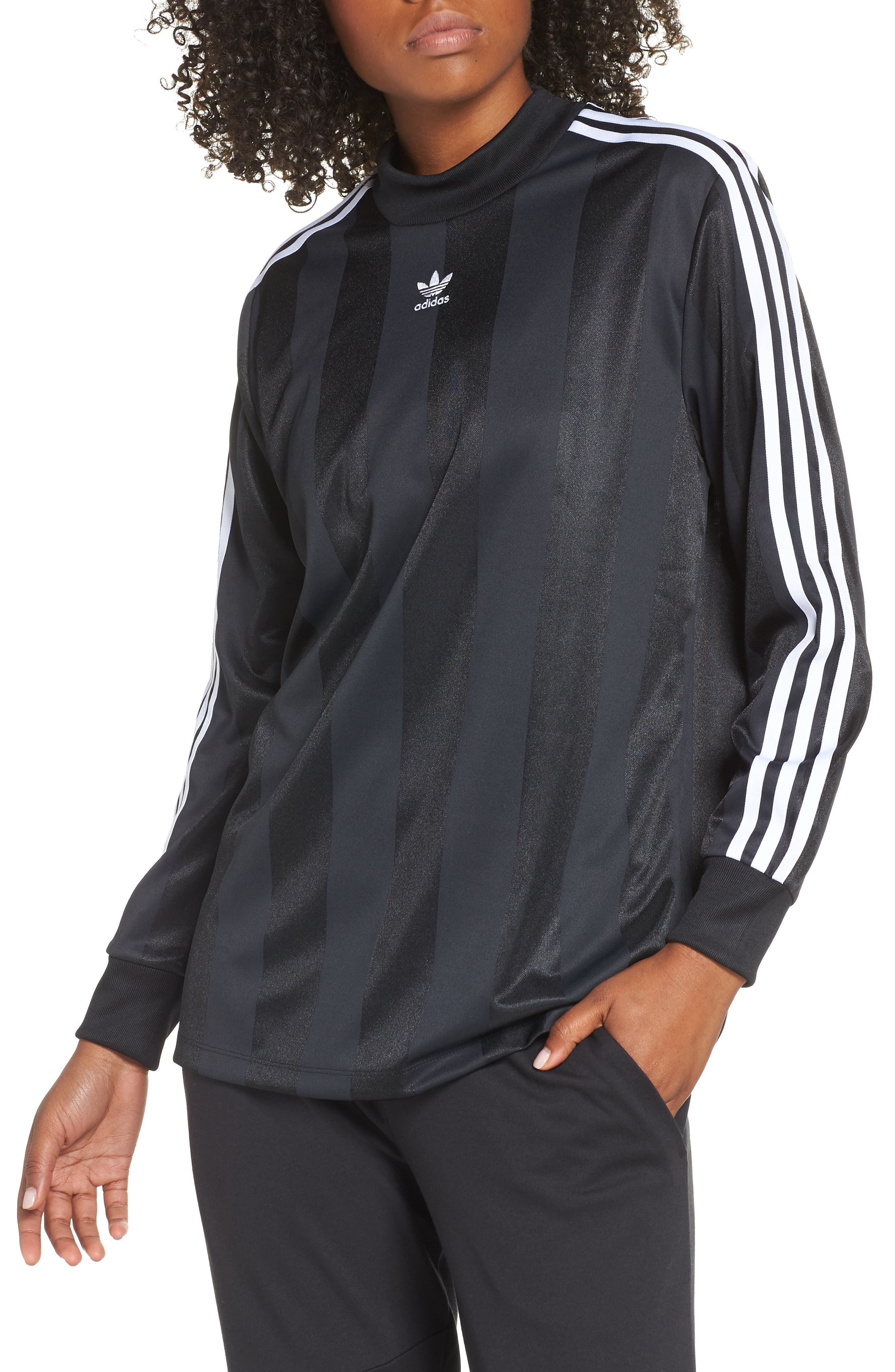 adidas 3-Stripes Long Sleeve Tee,                             Main thumbnail 1, color,                             001