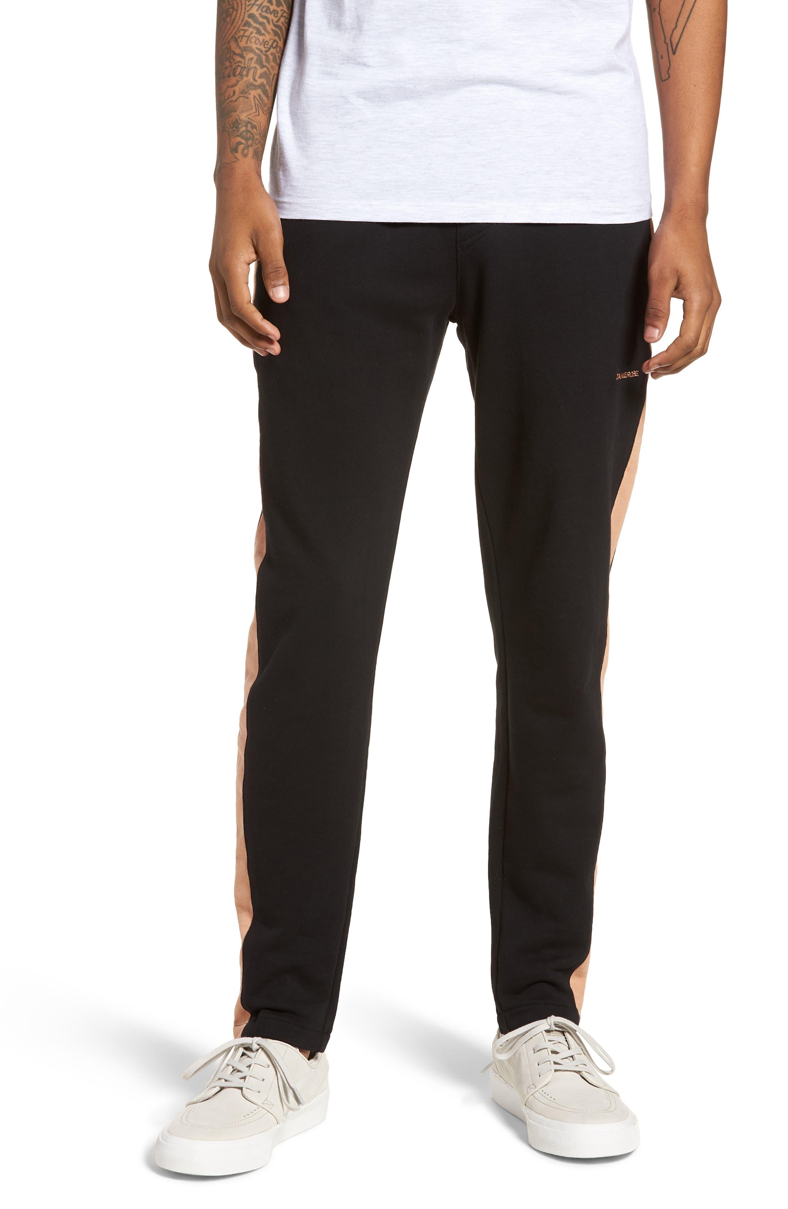 Jumpshot Slim Track Pants,                             Main thumbnail 1, color,                             BLACK/ BISCUIT