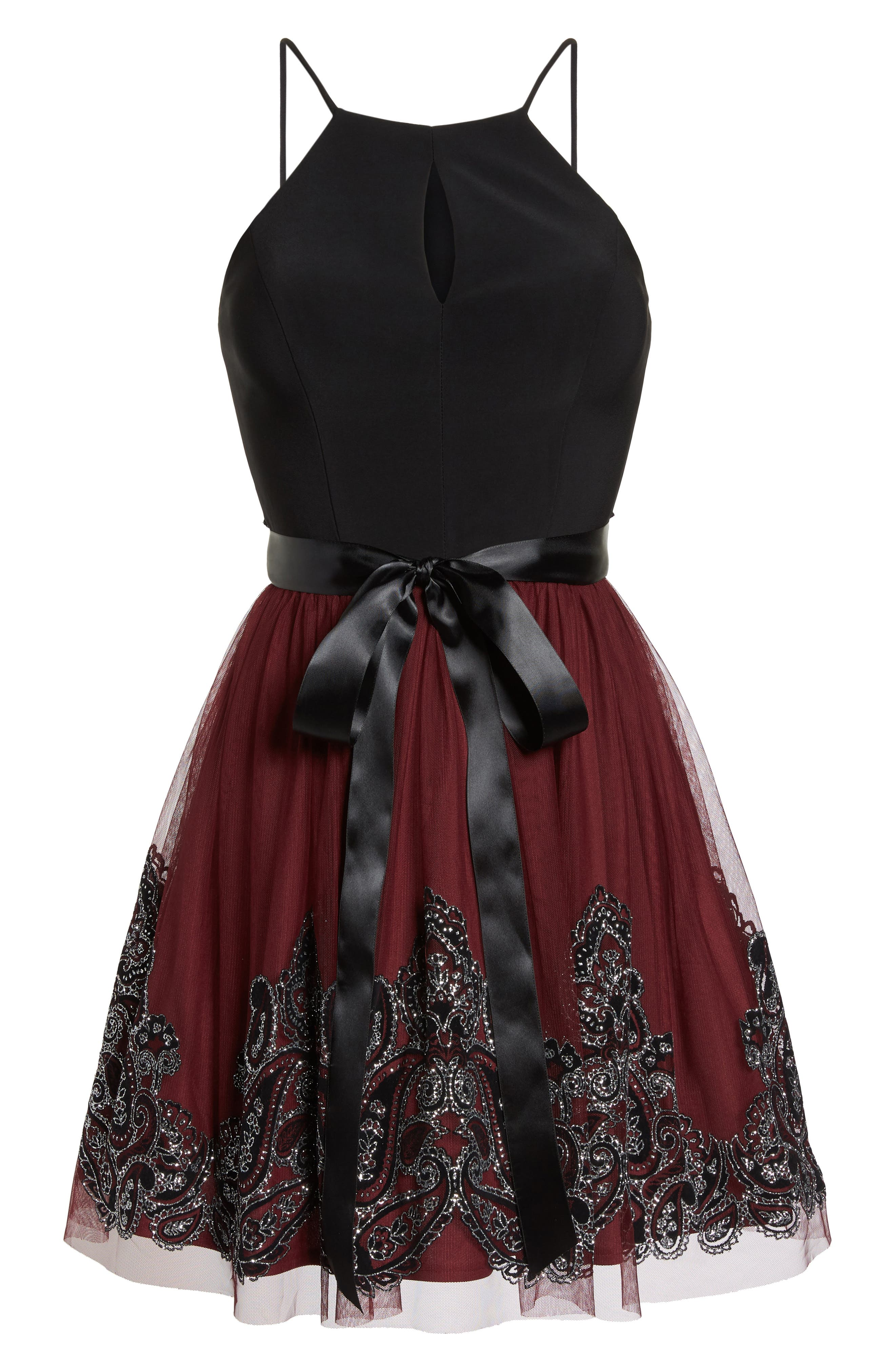 Embroidered Fit & Flare Dress,                             Alternate thumbnail 6, color,                             BLACK/ WINE