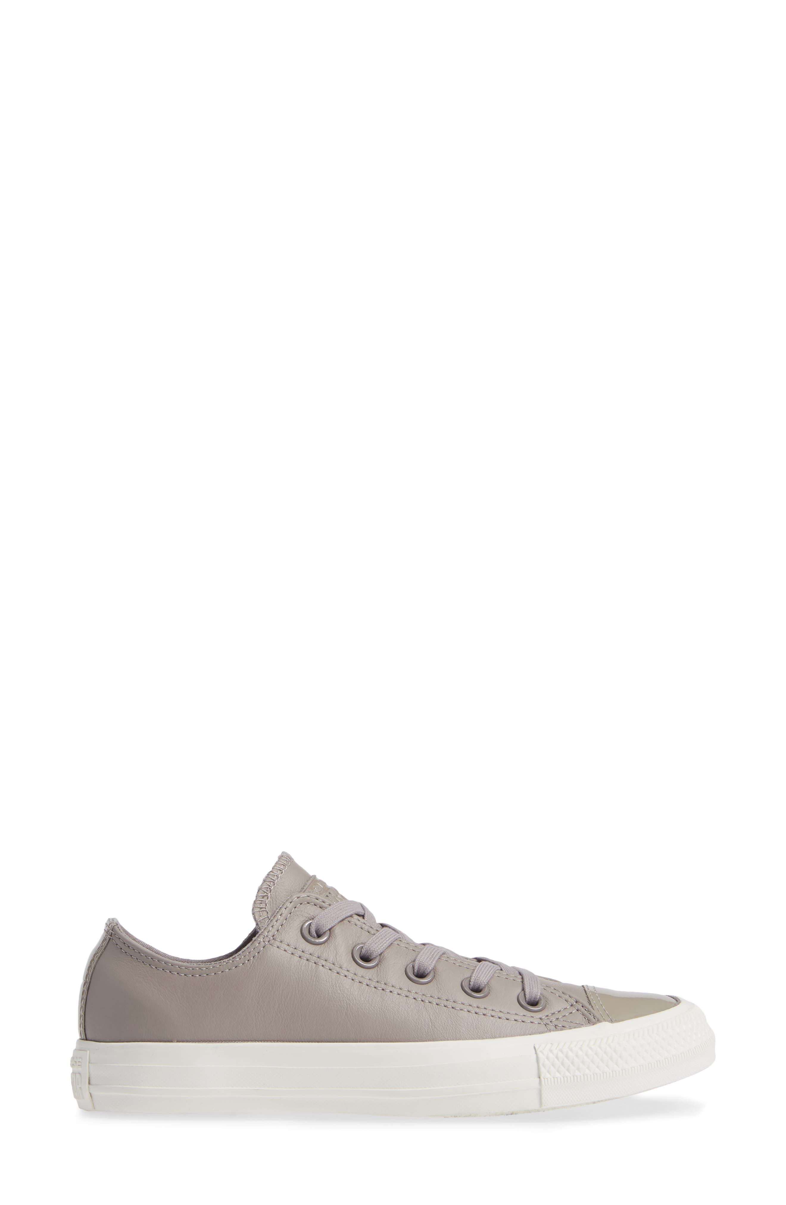 CONVERSE,                             All Star<sup>®</sup> Leather Patent Low Top Sneaker,                             Alternate thumbnail 3, color,                             020