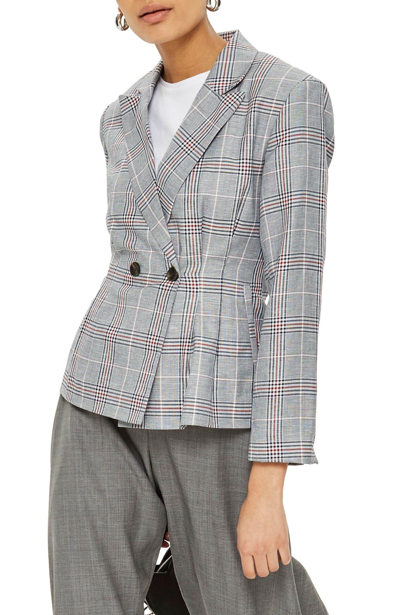 Cham Linen Checkered Jacket,                             Main thumbnail 1, color,                             021