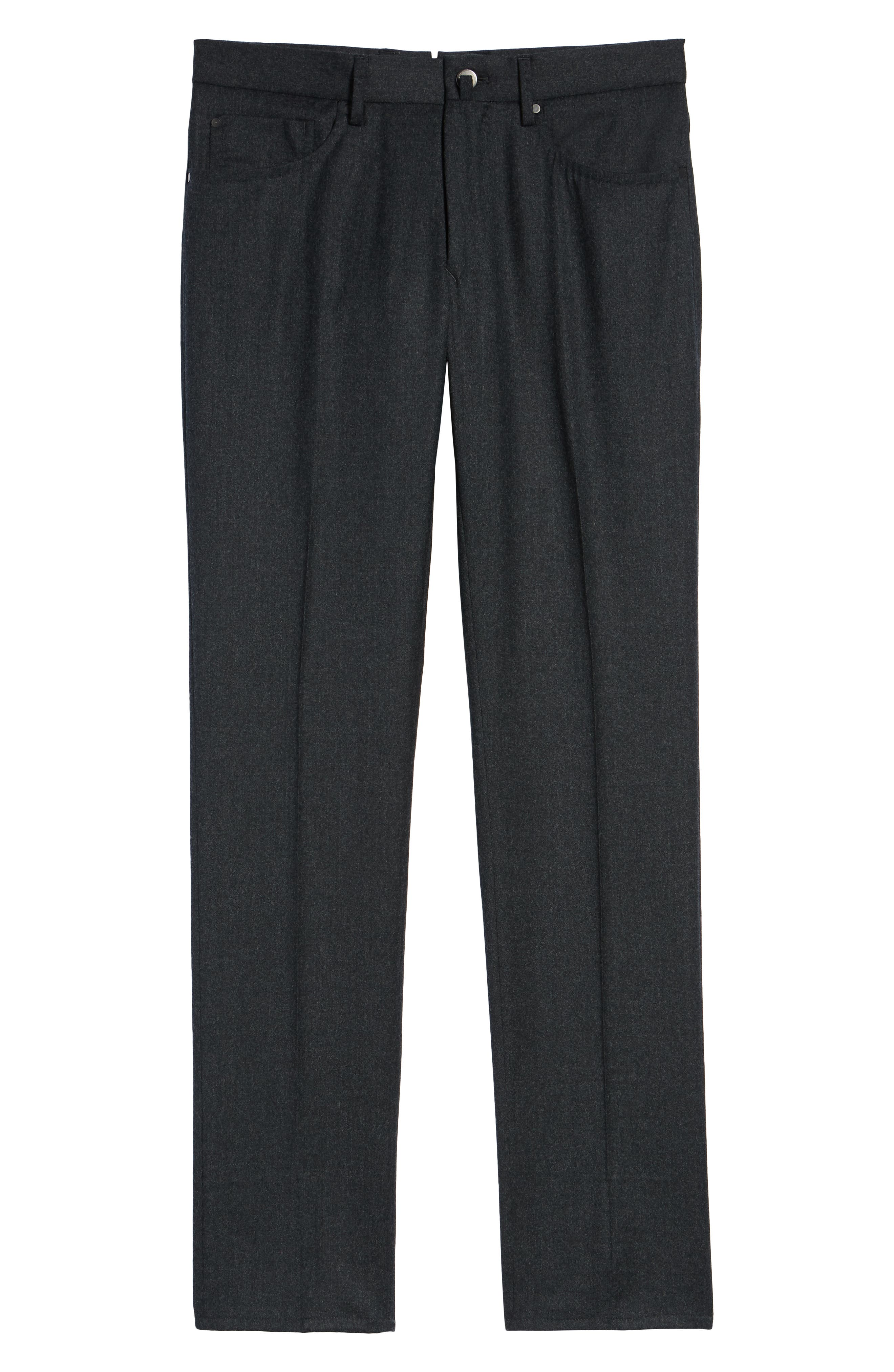 Five-Pocket Solid Wool Trousers,                             Alternate thumbnail 6, color,                             CHARCOAL
