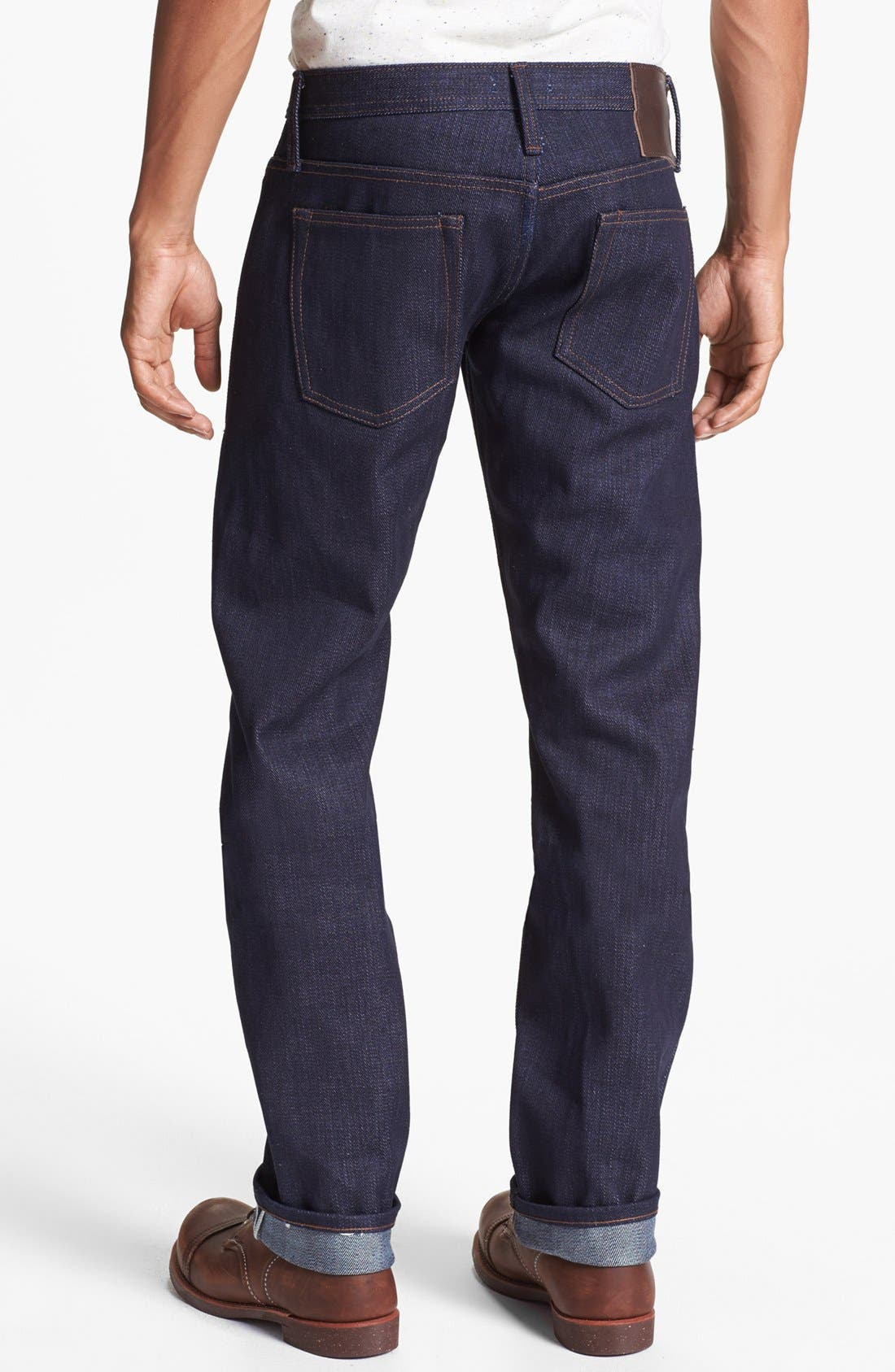 THE UNBRANDED BRAND,                             'UB221' Slim Fit Raw Selvedge Jeans,                             Alternate thumbnail 3, color,                             401