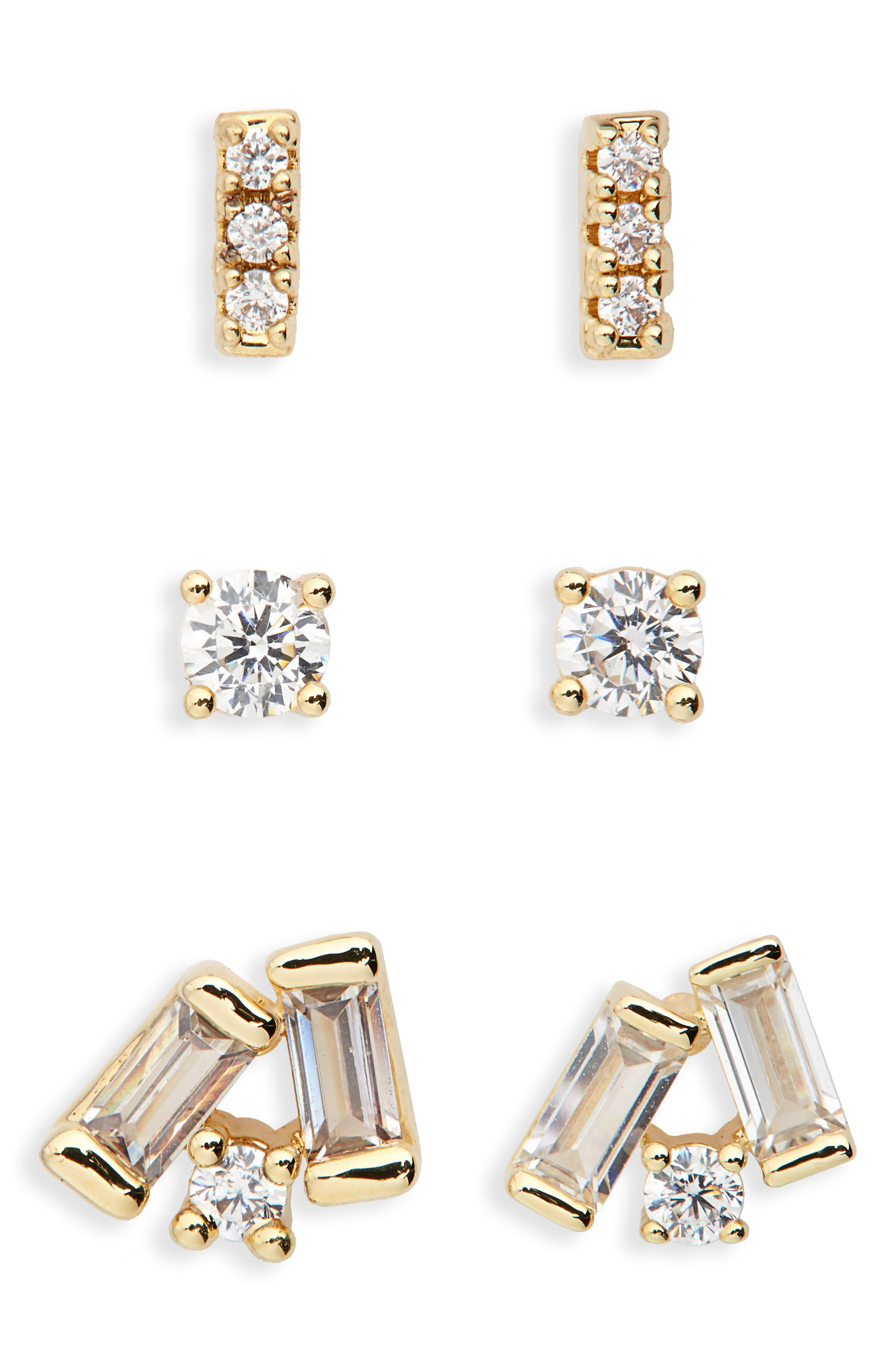Set of 3 Stud Earrings,                             Main thumbnail 1, color,                             CLEAR- GOLD