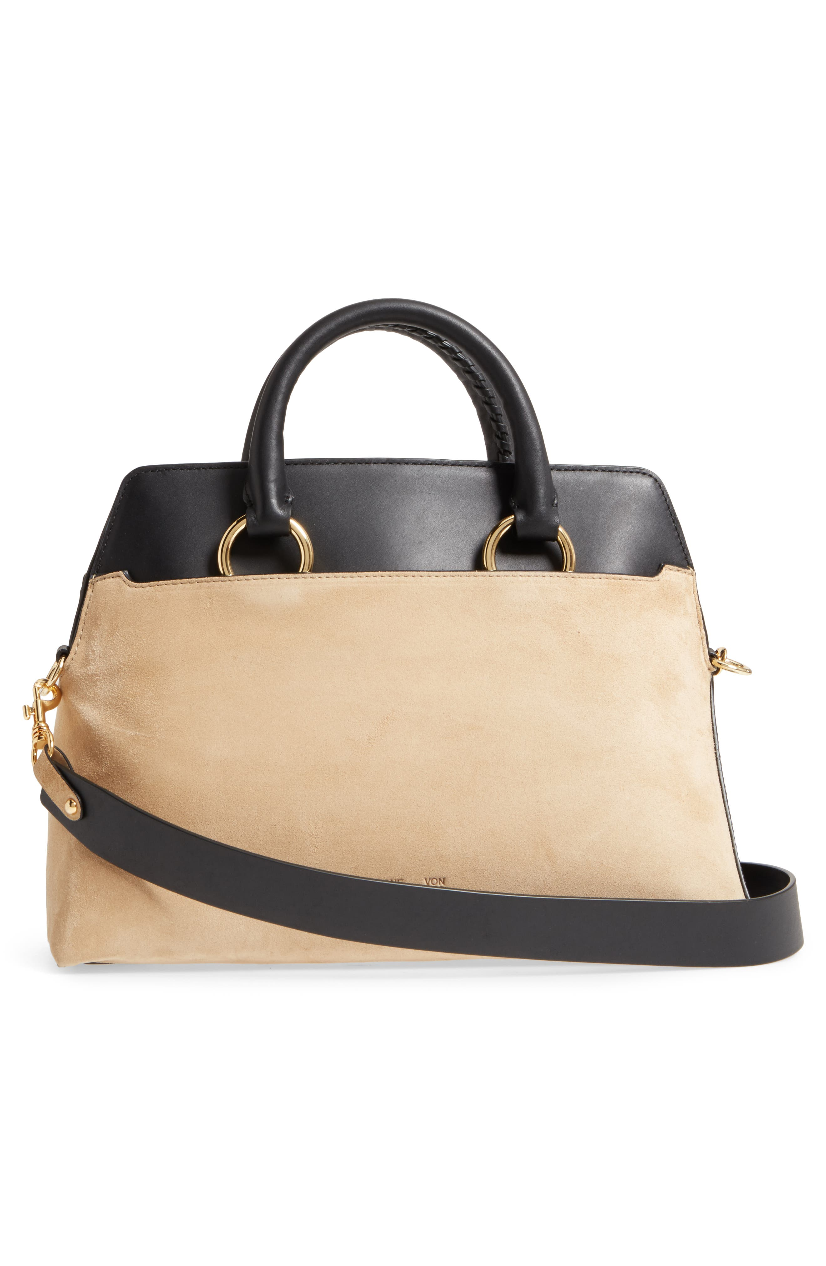 Large Leather & Suede Satchel,                             Alternate thumbnail 3, color,                             001