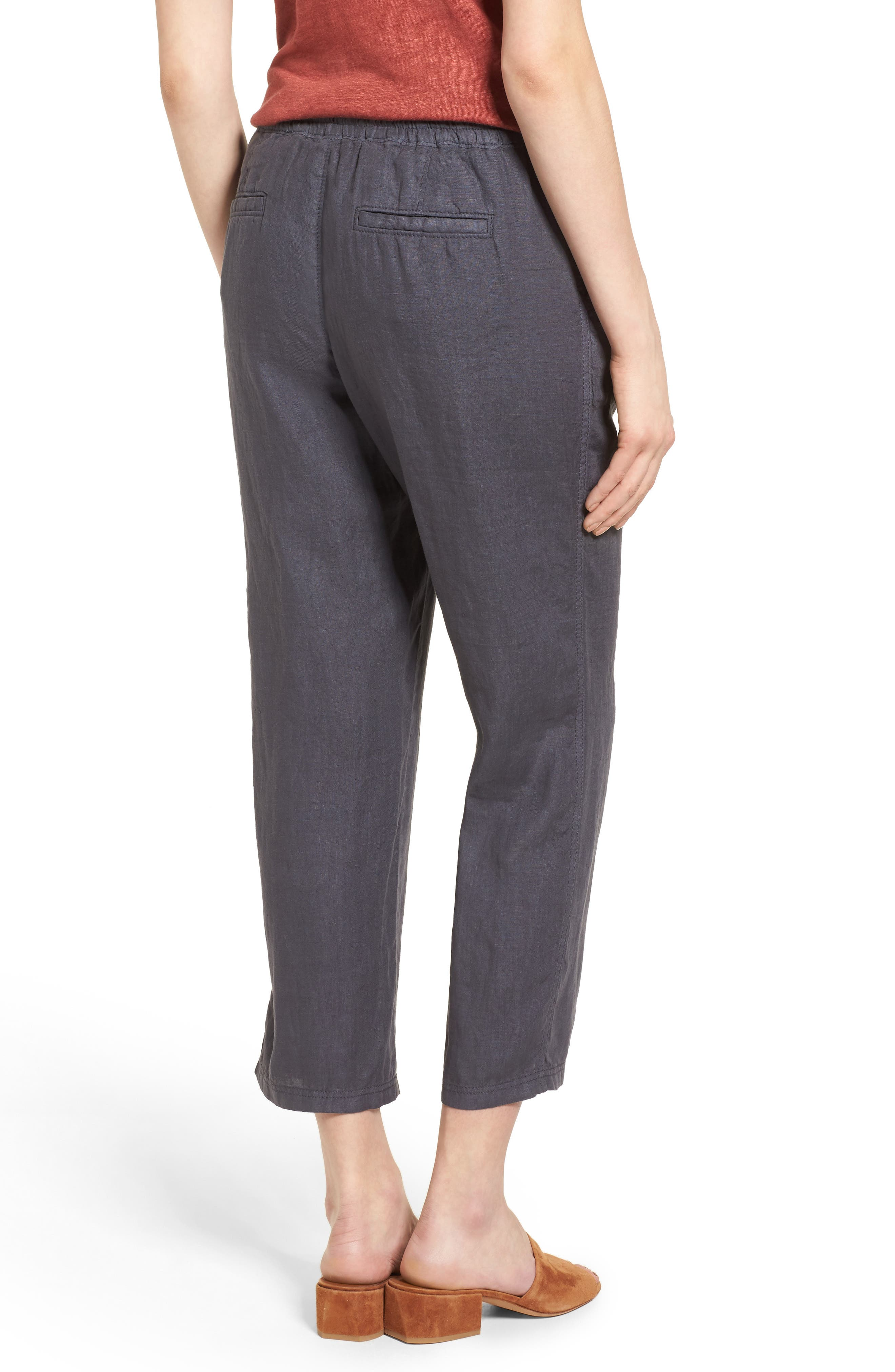 Linen Crop Pants,                             Alternate thumbnail 9, color,