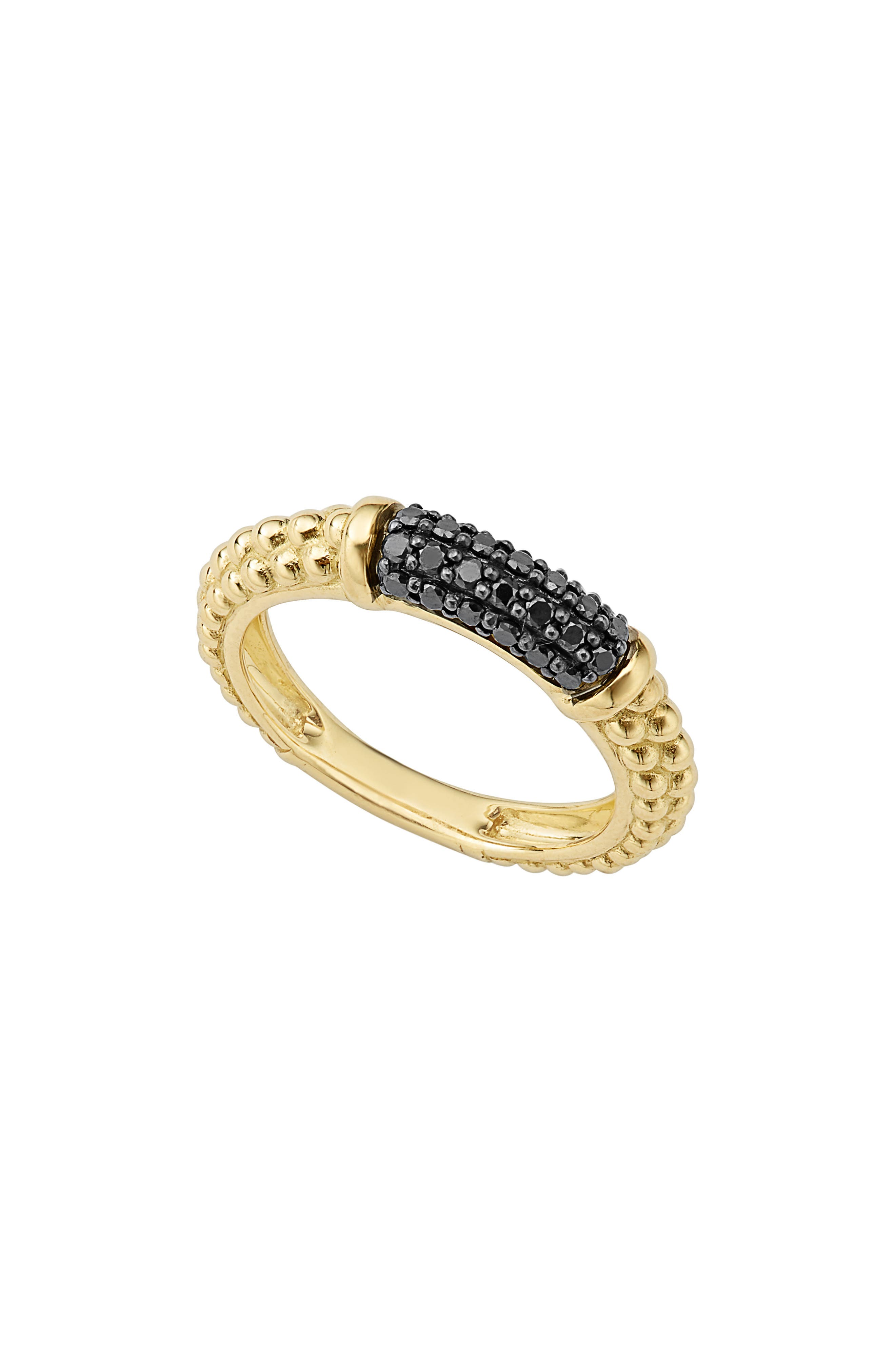 Gold & Black Caviar Black Diamond Pavé Stacking Ring,                             Main thumbnail 1, color,                             GOLD