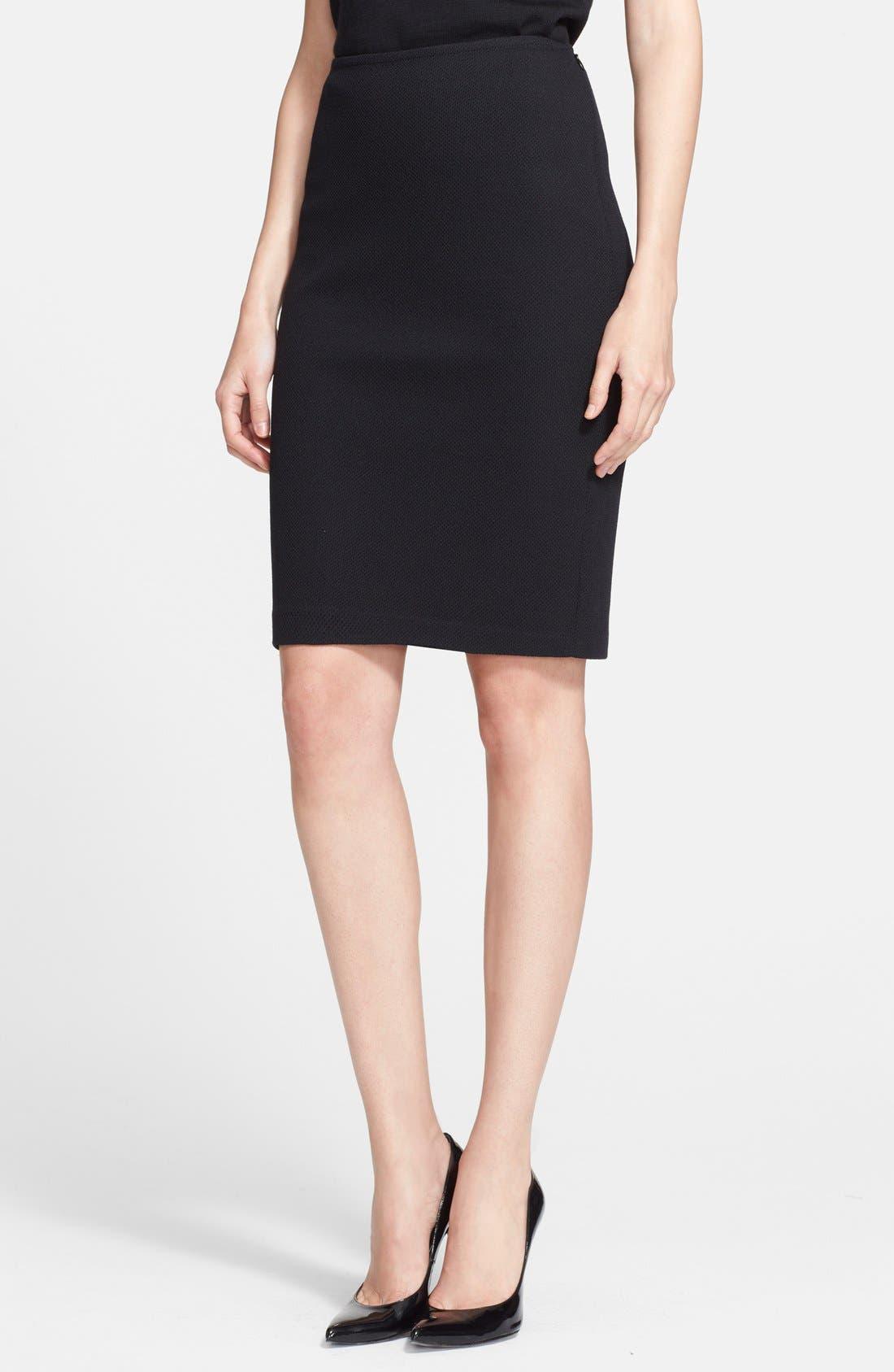 Milano Piqué Knit Pencil Skirt,                         Main,                         color, 001