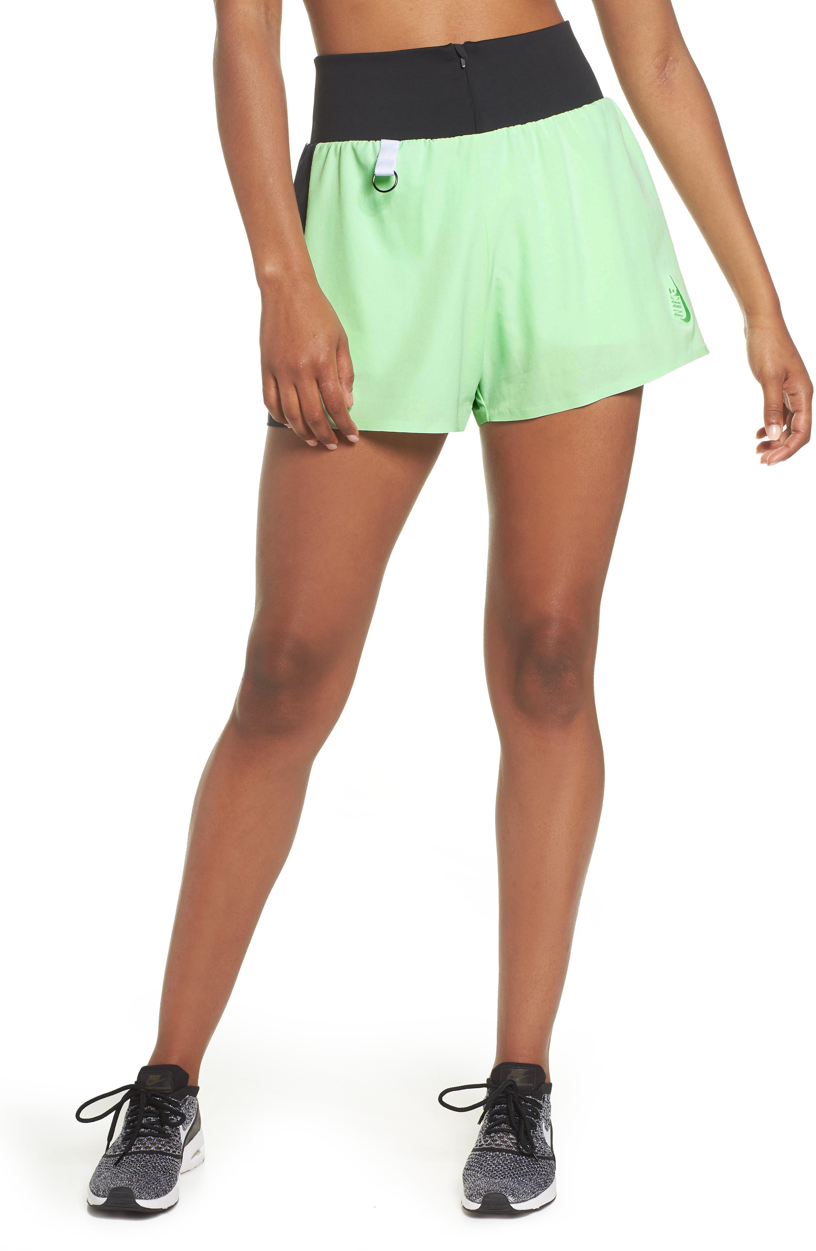 NRG Women's Dri-FIT Running Shorts,                         Main,                         color, VAPOR GREEN/ BLACK/ WHITE