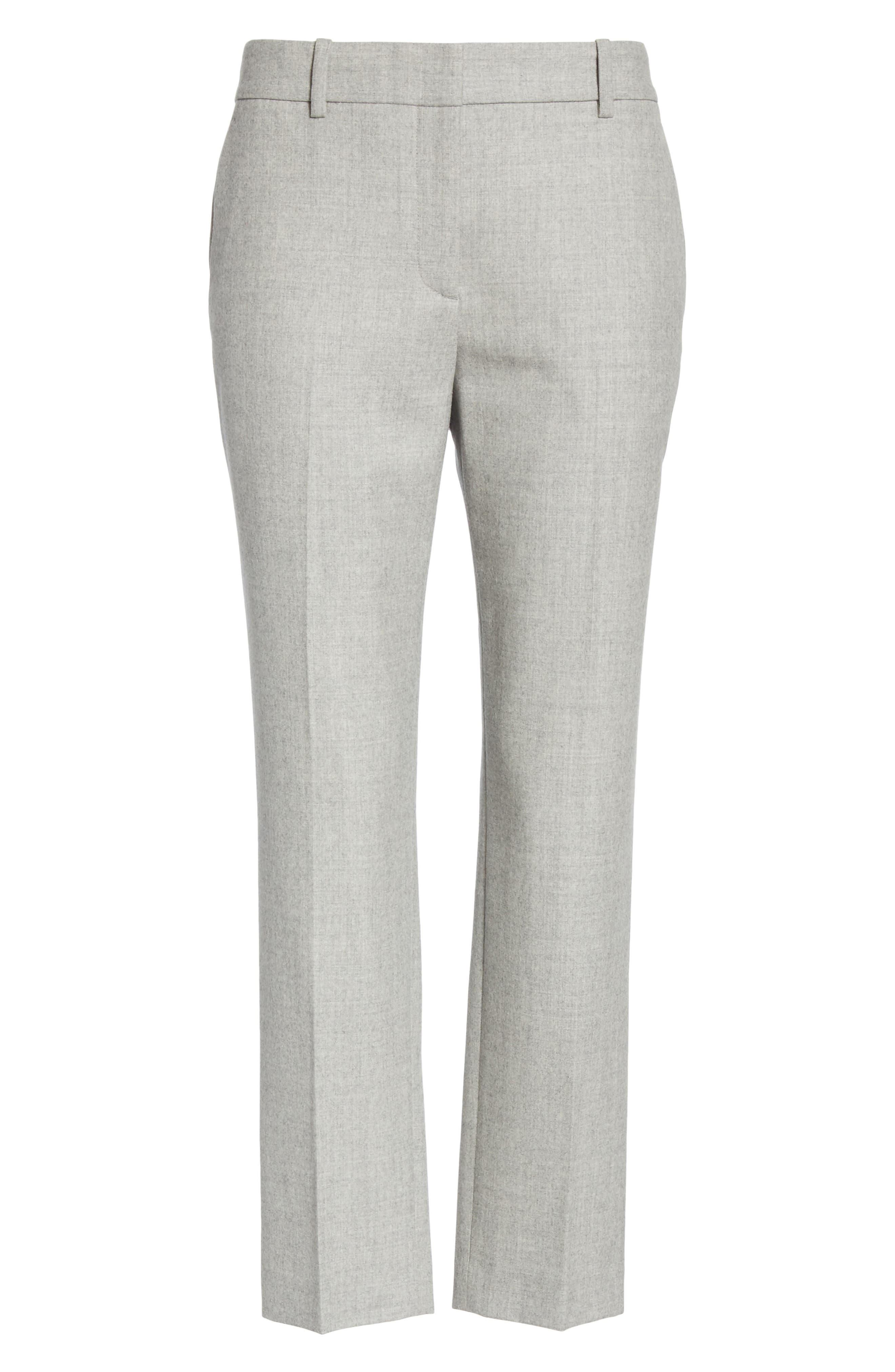 Treeca Flannel Ankle Pants,                             Alternate thumbnail 6, color,                             PALE GREY