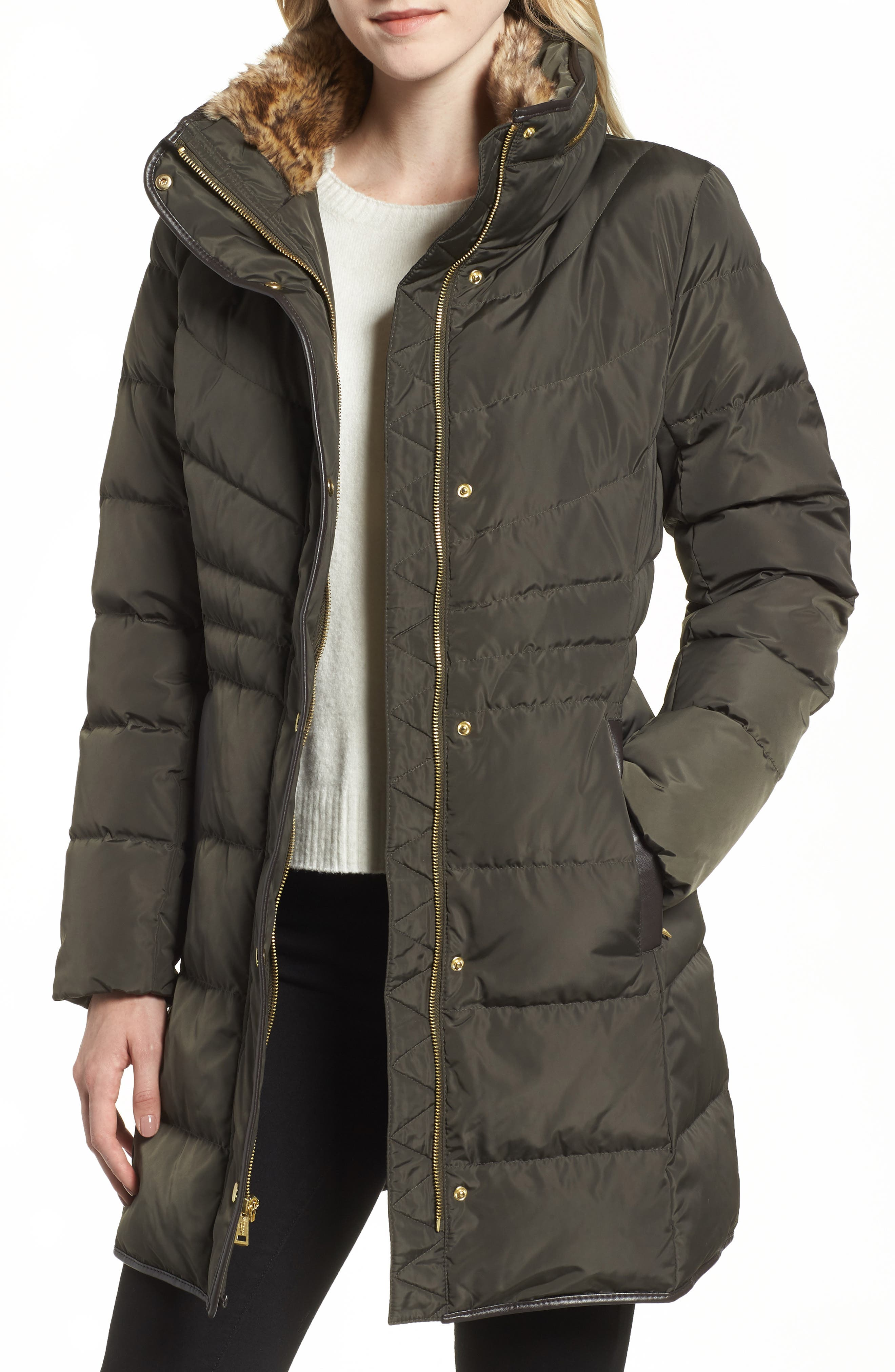 Cole Haan Quilted Down & Feather Fill Jacket With Faux Fur Trim, Green