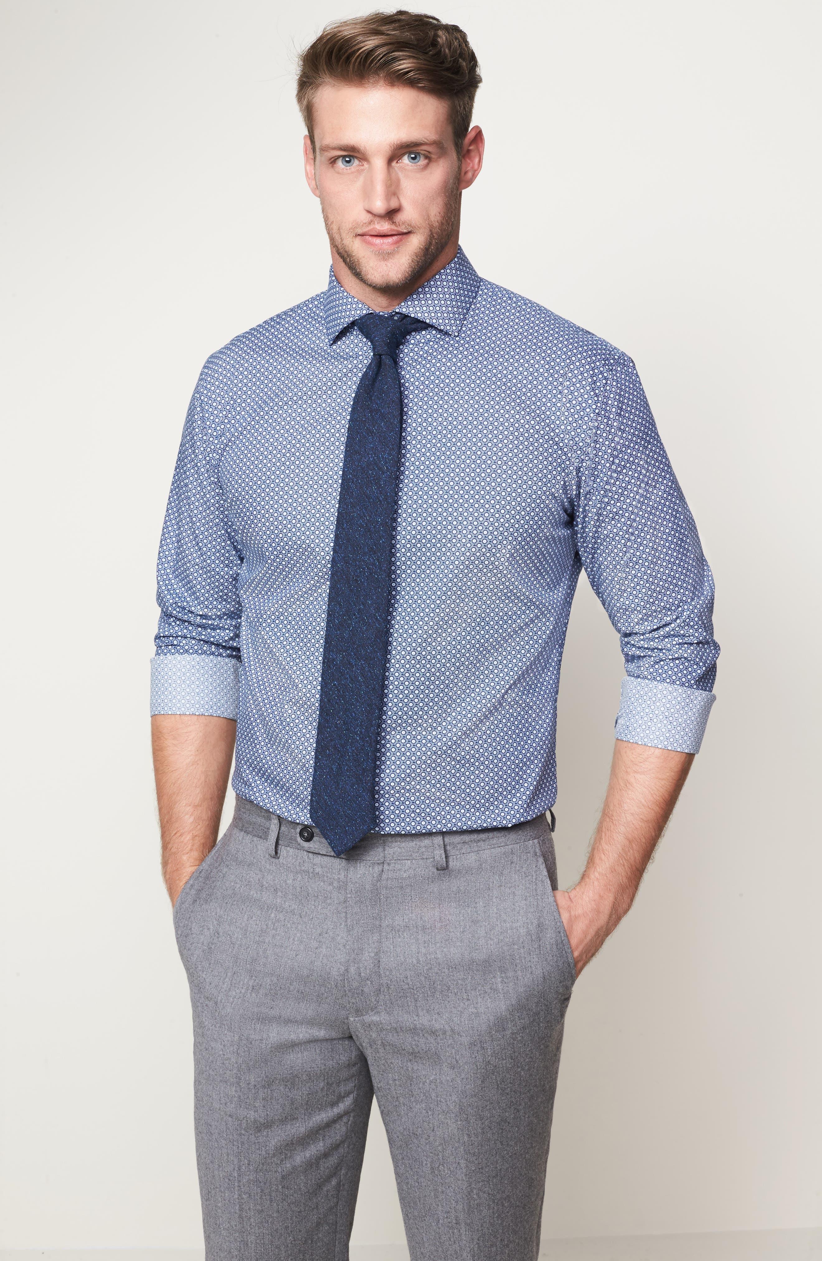 Trim Fit Dress Shirt,                             Alternate thumbnail 3, color,                             401