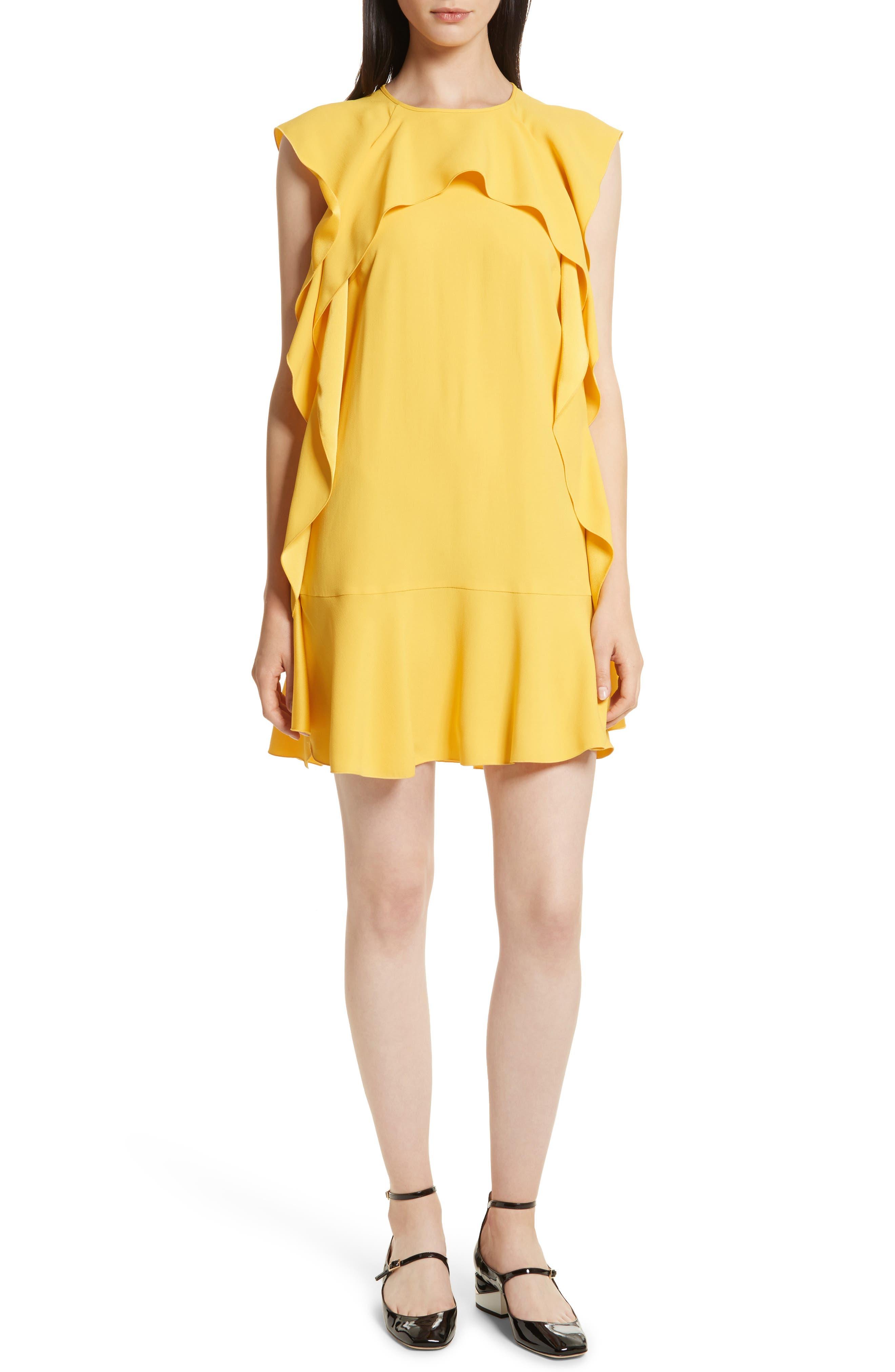 Ruffle Satin Back Crepe Dress,                             Alternate thumbnail 5, color,                             700