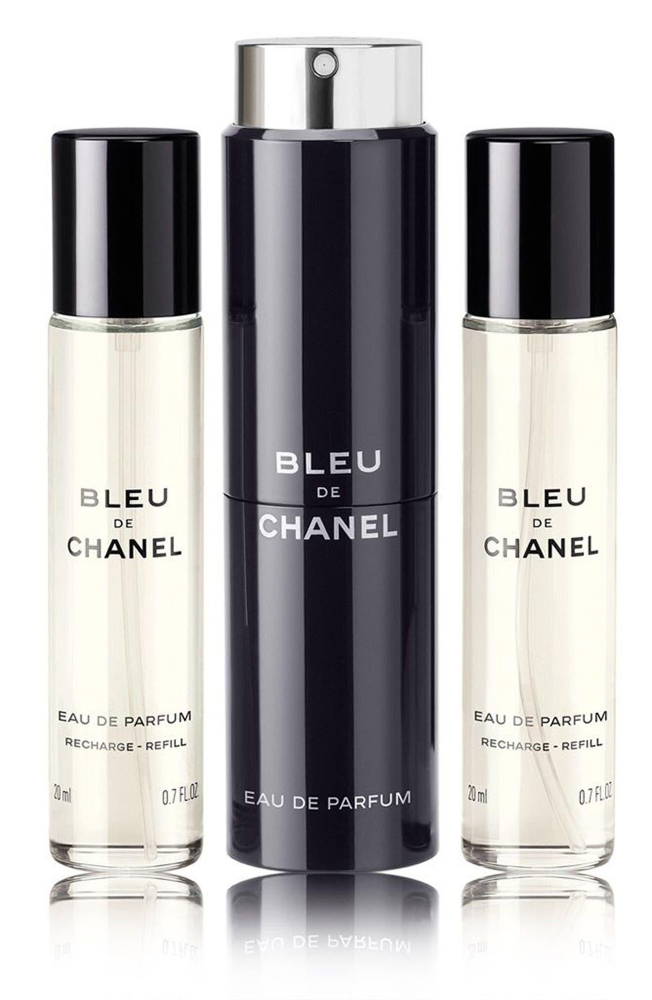 BLEU DE CHANEL EAU DE PARFUM POUR HOMME Refillable Travel Spray Set,                             Main thumbnail 1, color,                             NO COLOR