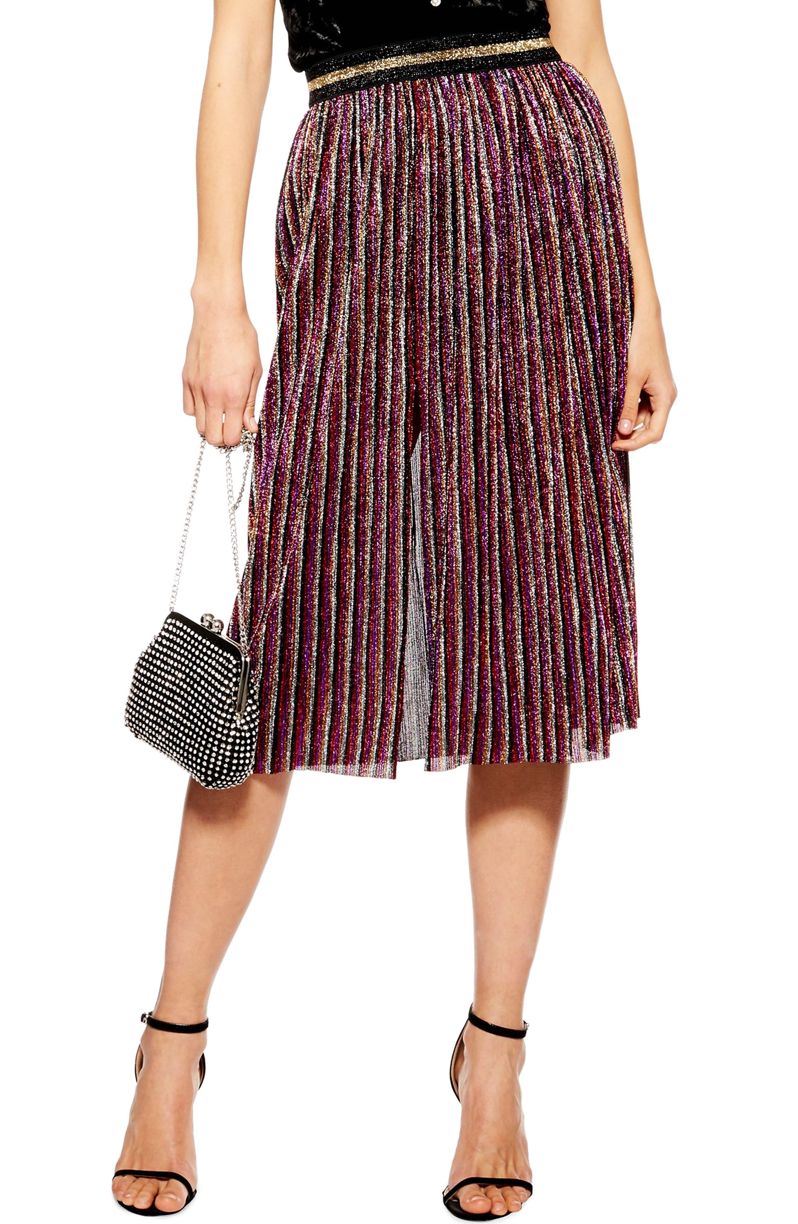 Topshop Metallic Plisse Midi Skirt, US (fits like 16-18) - Pink