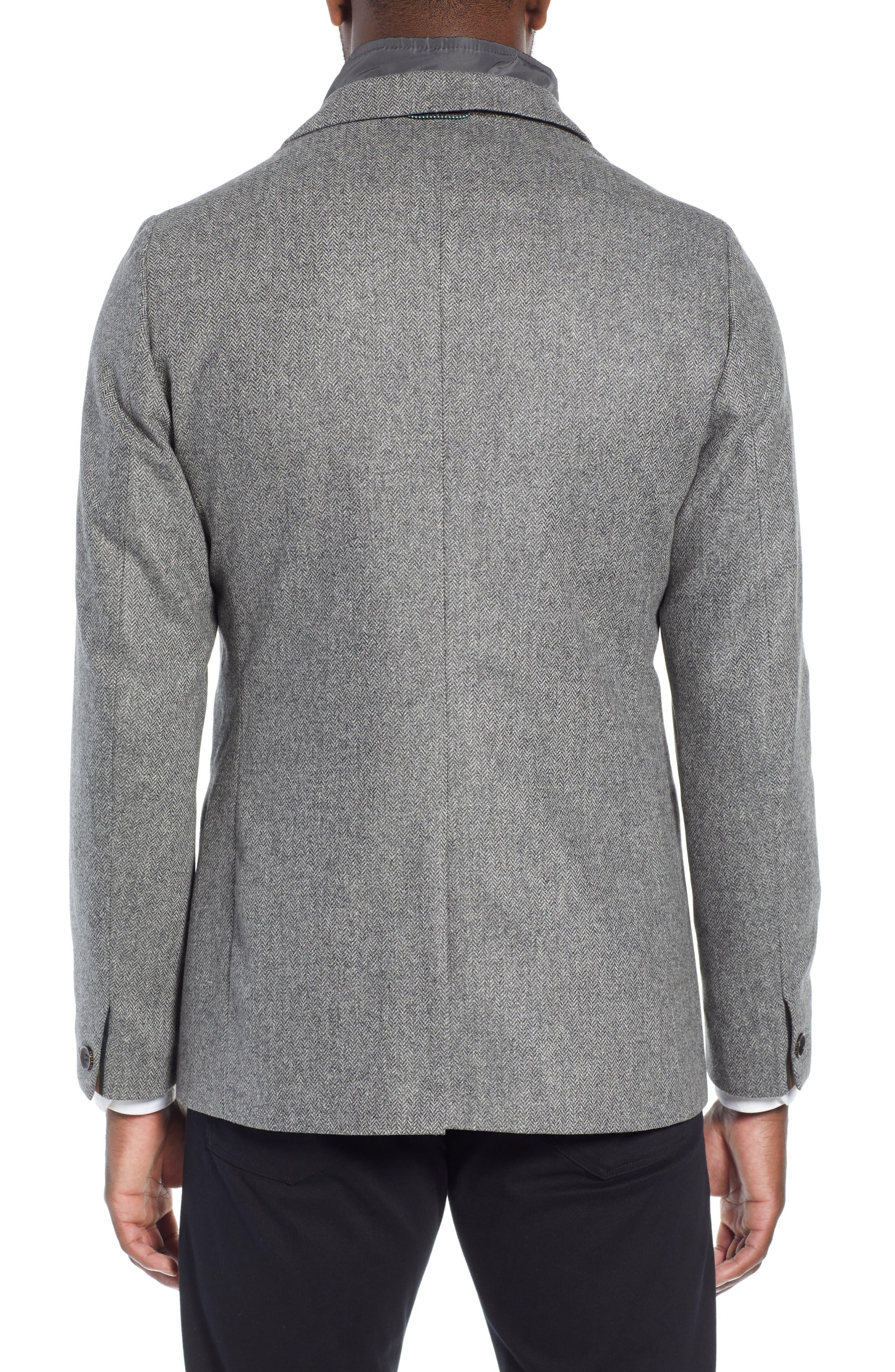 Dual Look Herringbone Jacket,                             Alternate thumbnail 2, color,                             LIGHT GREY