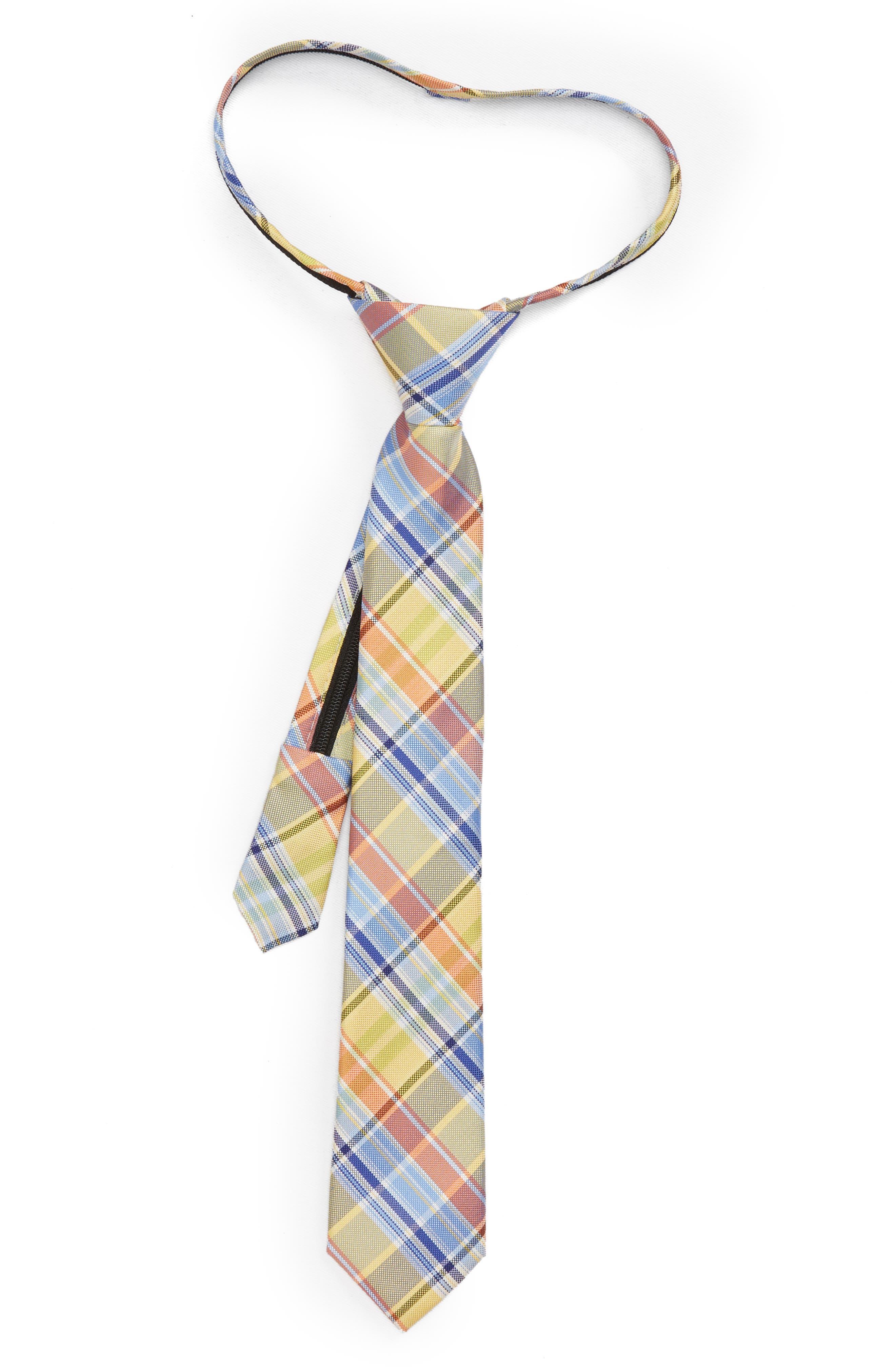 Madras Plaid Silk Zip Tie,                         Main,                         color, 455
