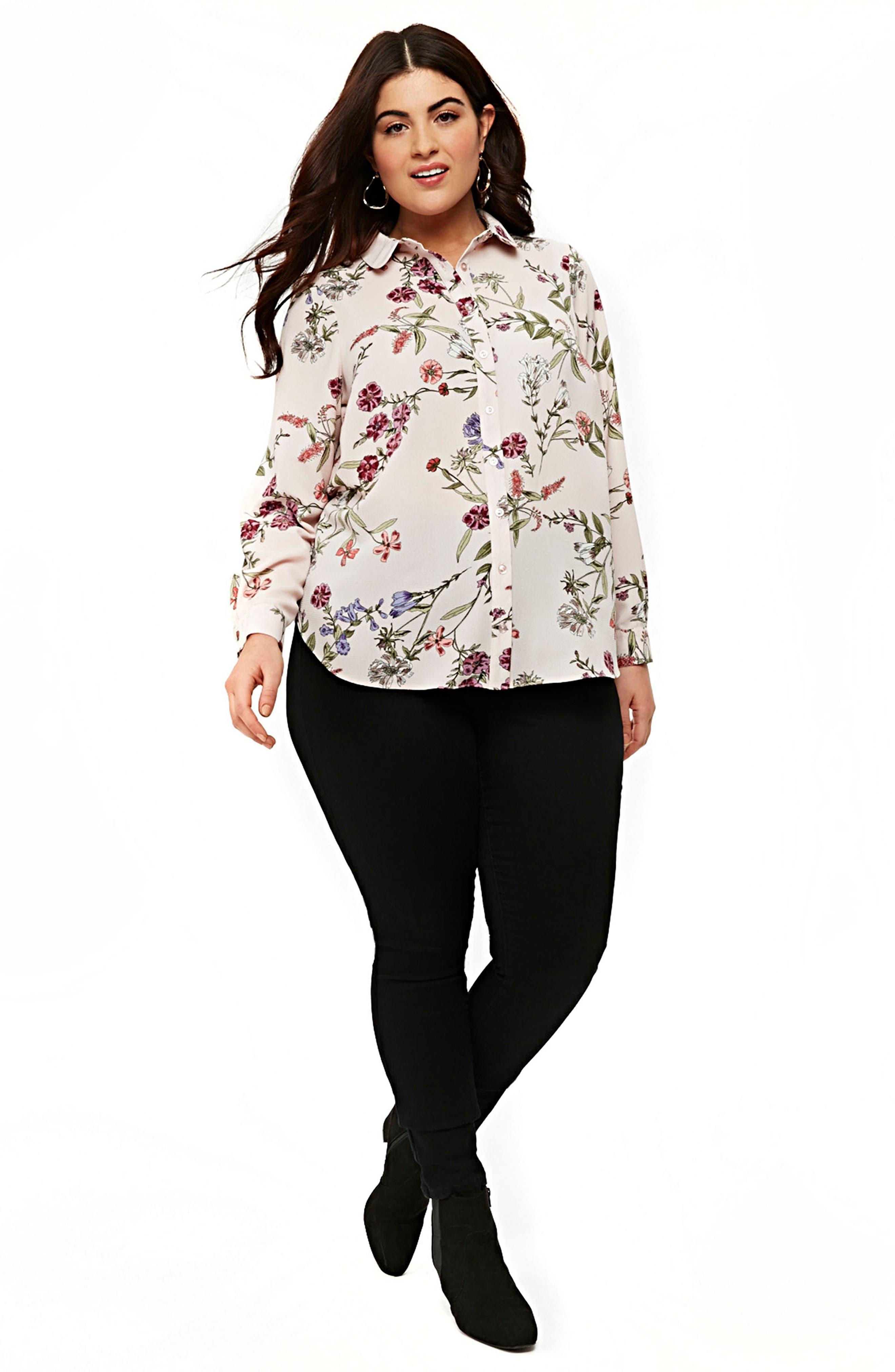 Blush Floral Print Shirt,                             Alternate thumbnail 4, color,                             DARK MULTI
