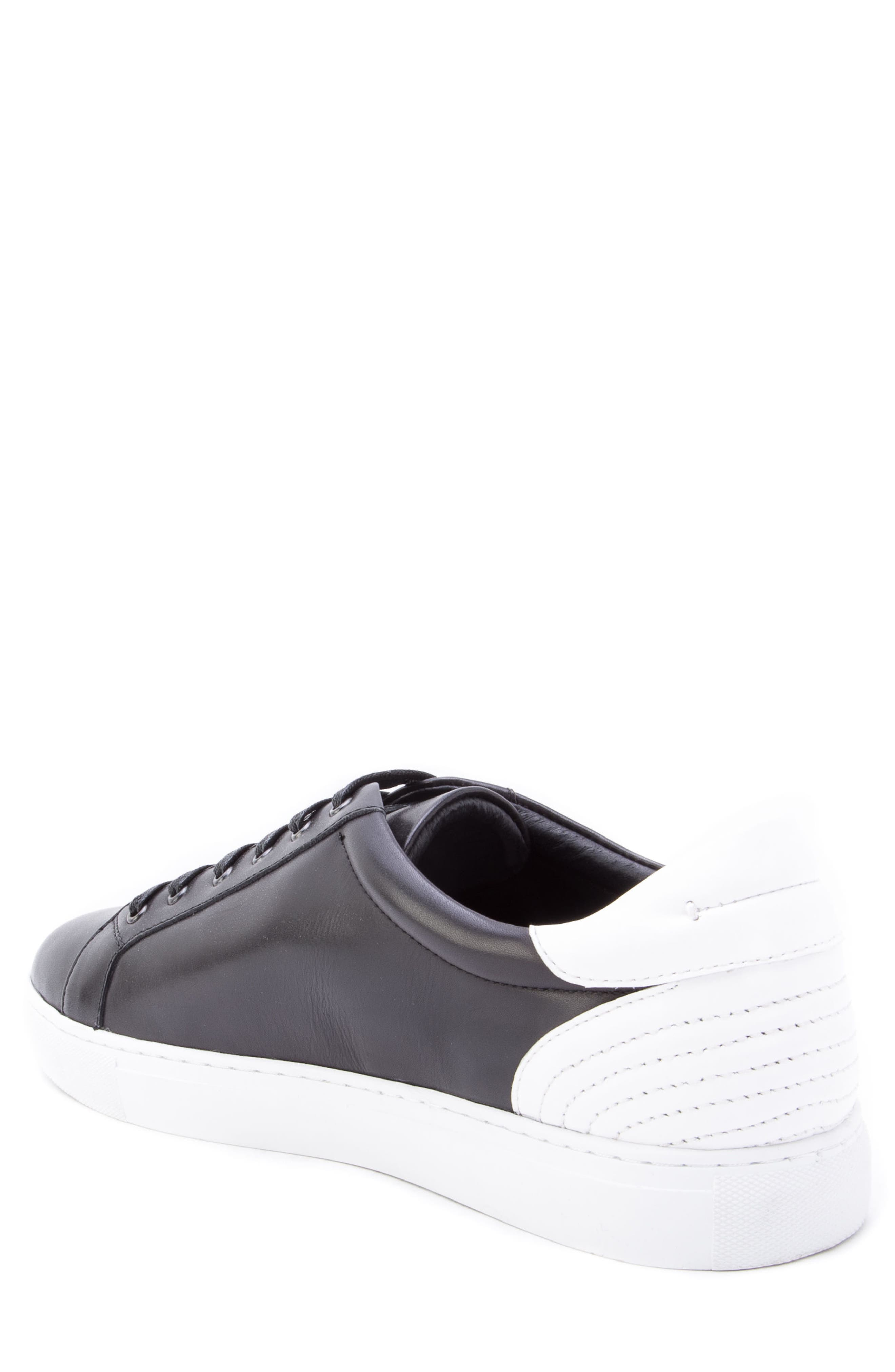 Scheffer Low Top Sneaker,                             Alternate thumbnail 2, color,                             BLACK LEATHER