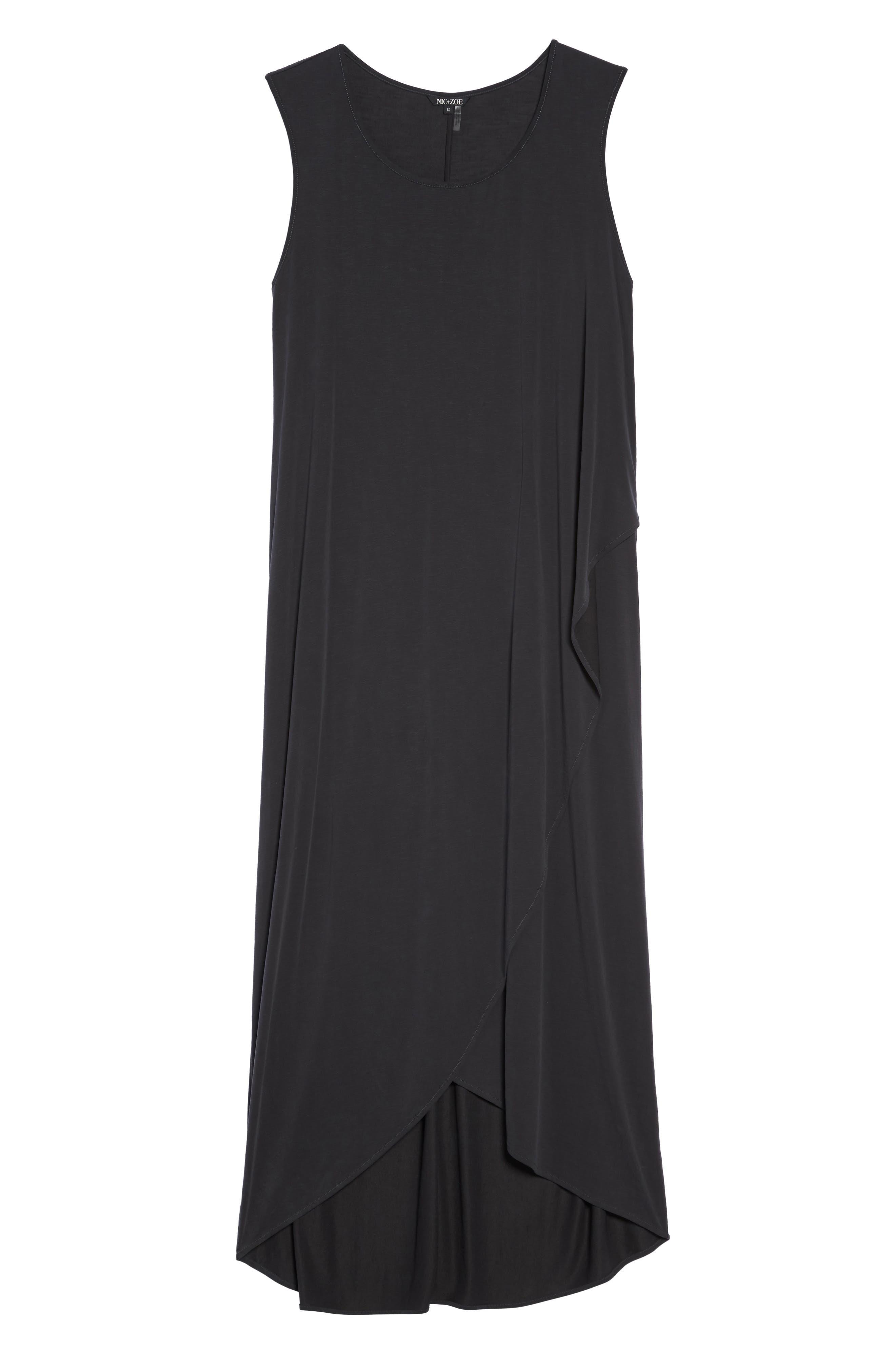 Boardwalk Jersey High/Low Dress,                             Alternate thumbnail 6, color,                             WASHED BLACK
