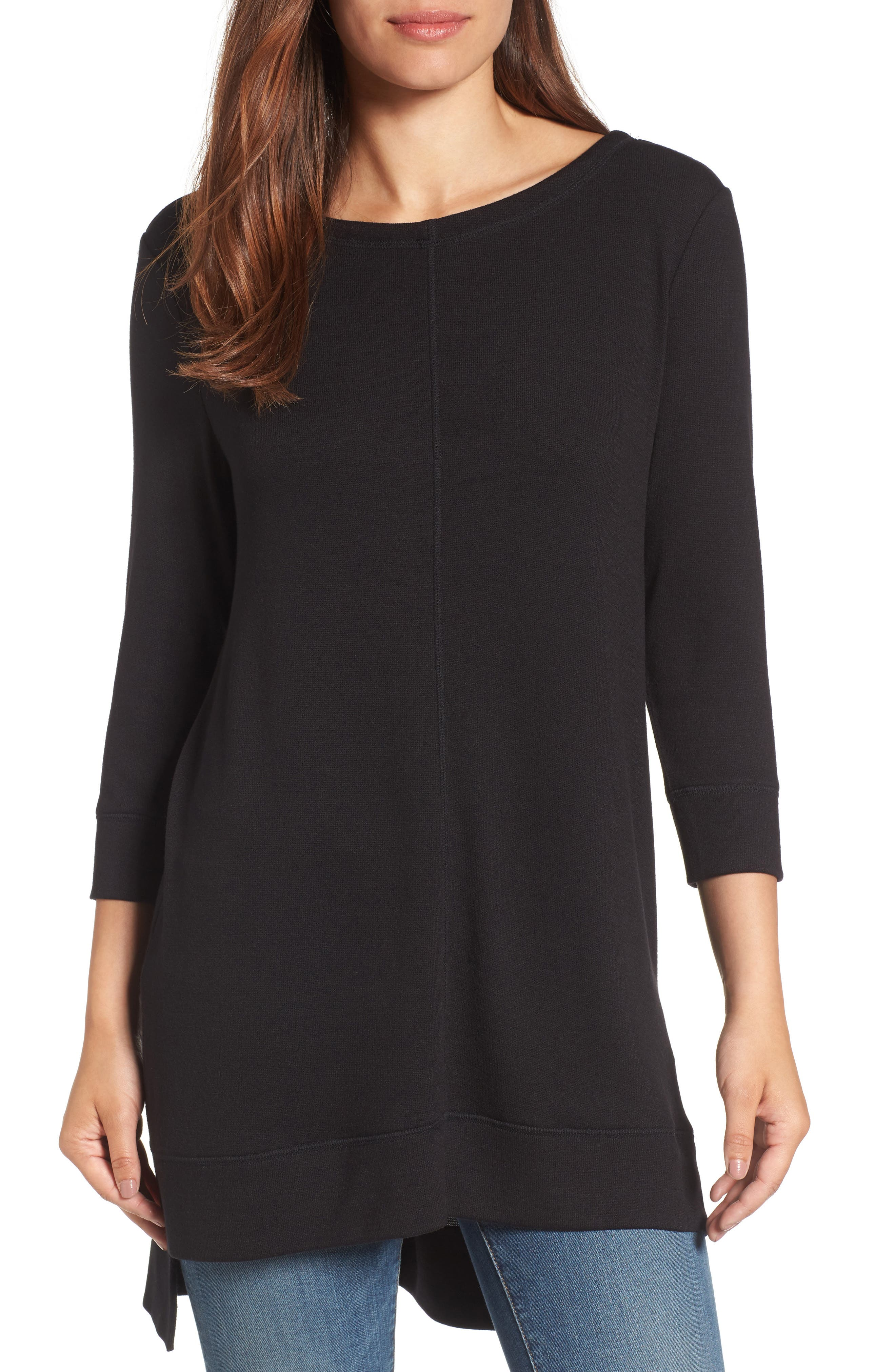 Three Quarter Sleeve Side Slit Tunic,                         Main,                         color, 001