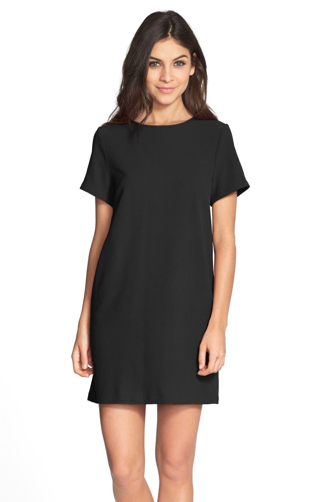 Devery Crepe Shift Dress,                         Main,                         color, BLACK