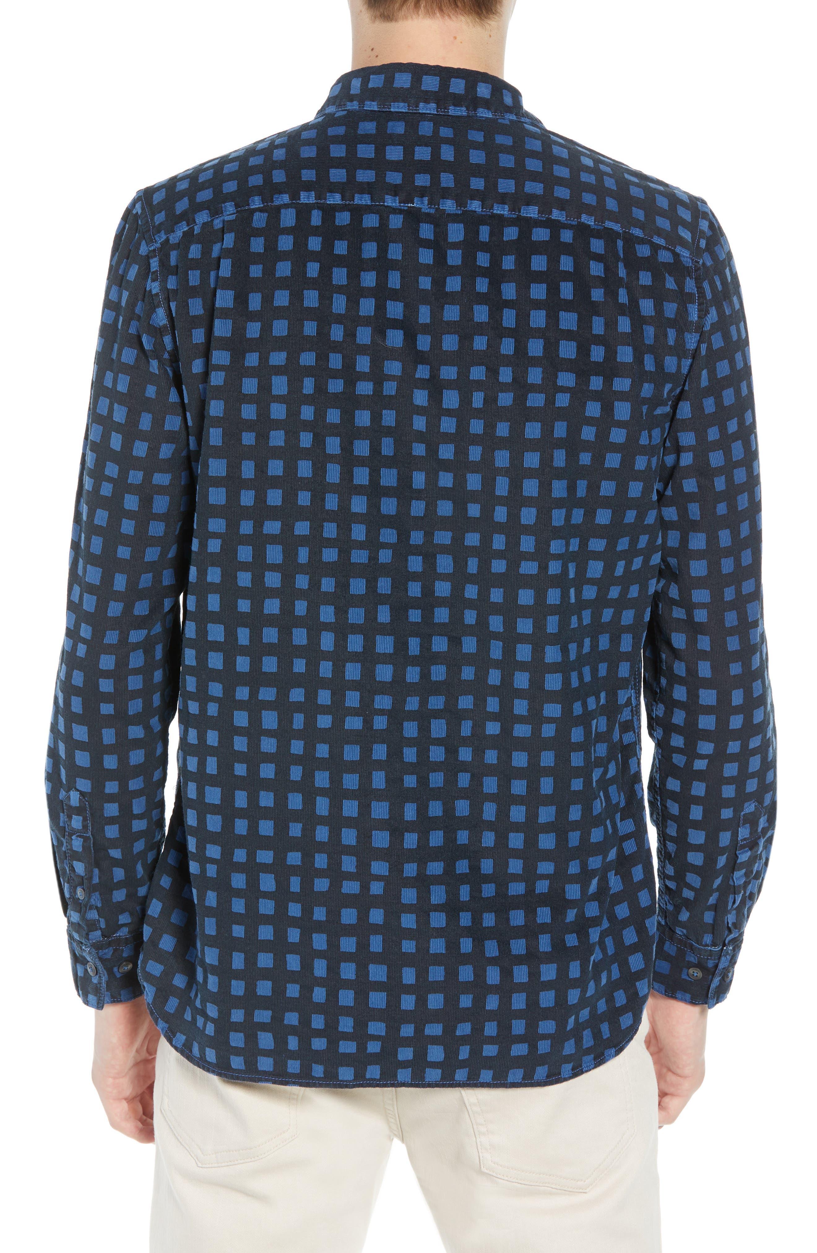 Gridlock Regular Fit Corduroy Shirt,                             Alternate thumbnail 3, color,                             FATHOM BLUE