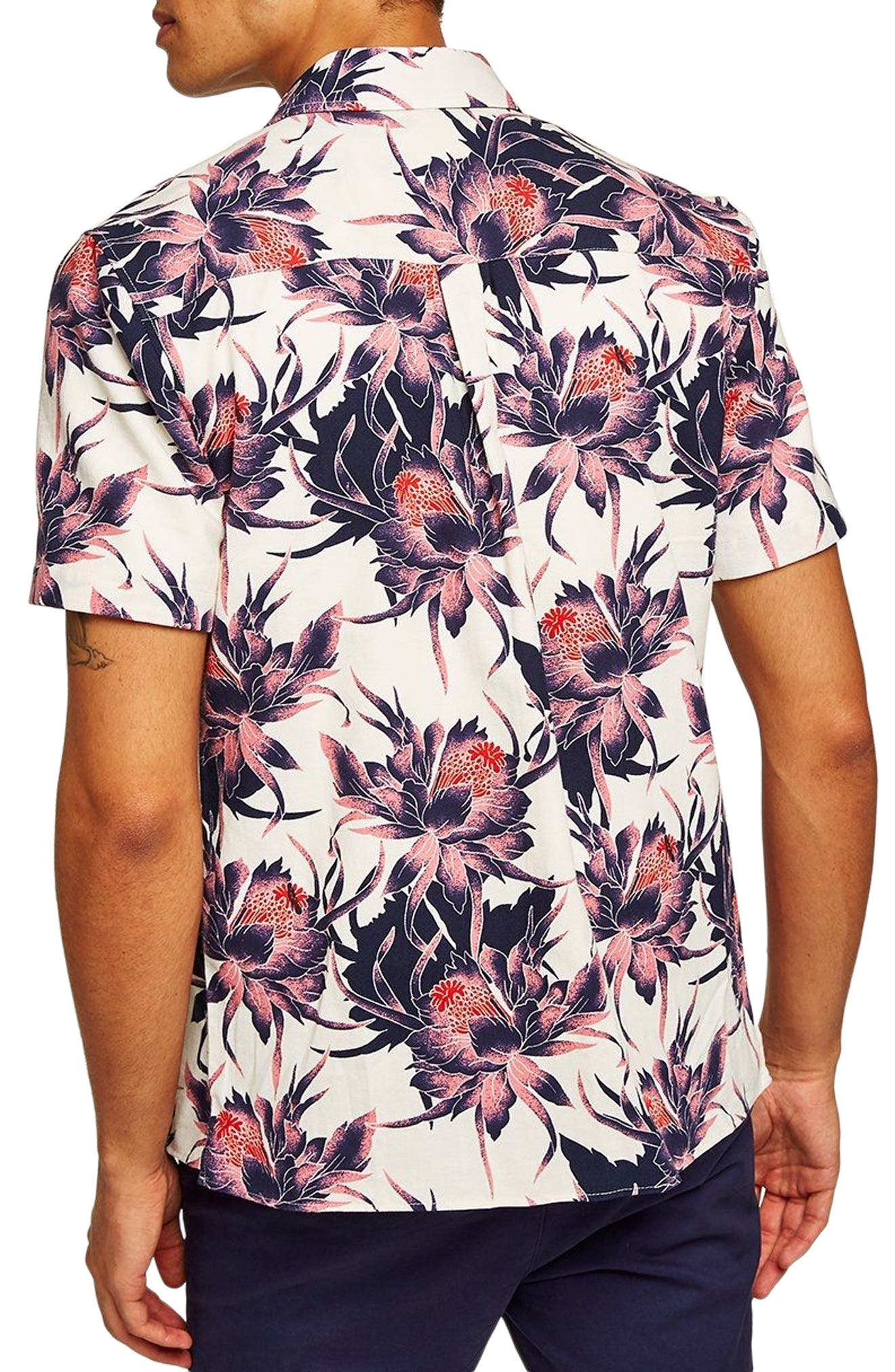Floral Print Shirt,                             Alternate thumbnail 3, color,                             100
