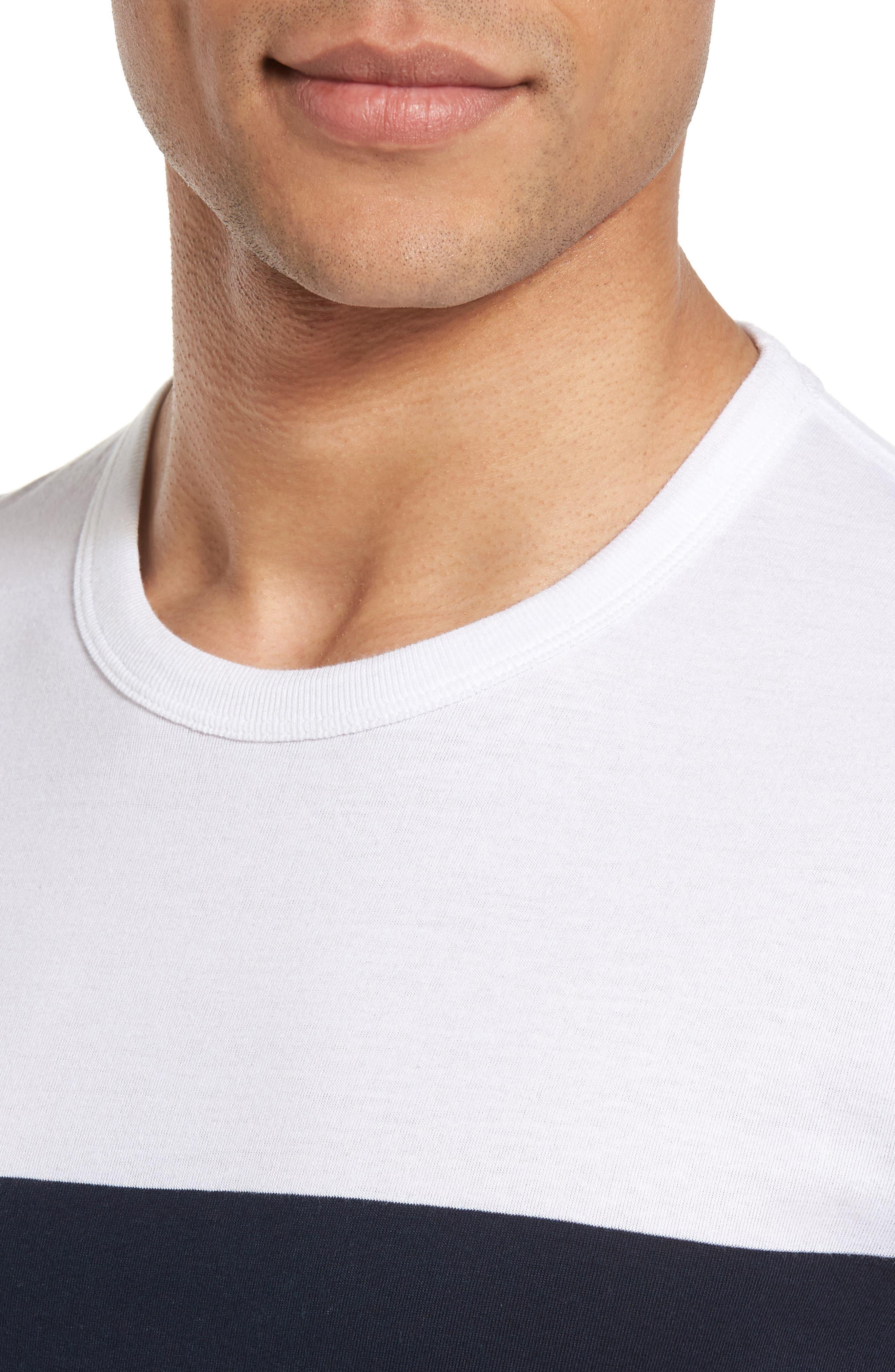 Senior Stripe Slim Fit T-Shirt,                             Alternate thumbnail 4, color,                             WHITE