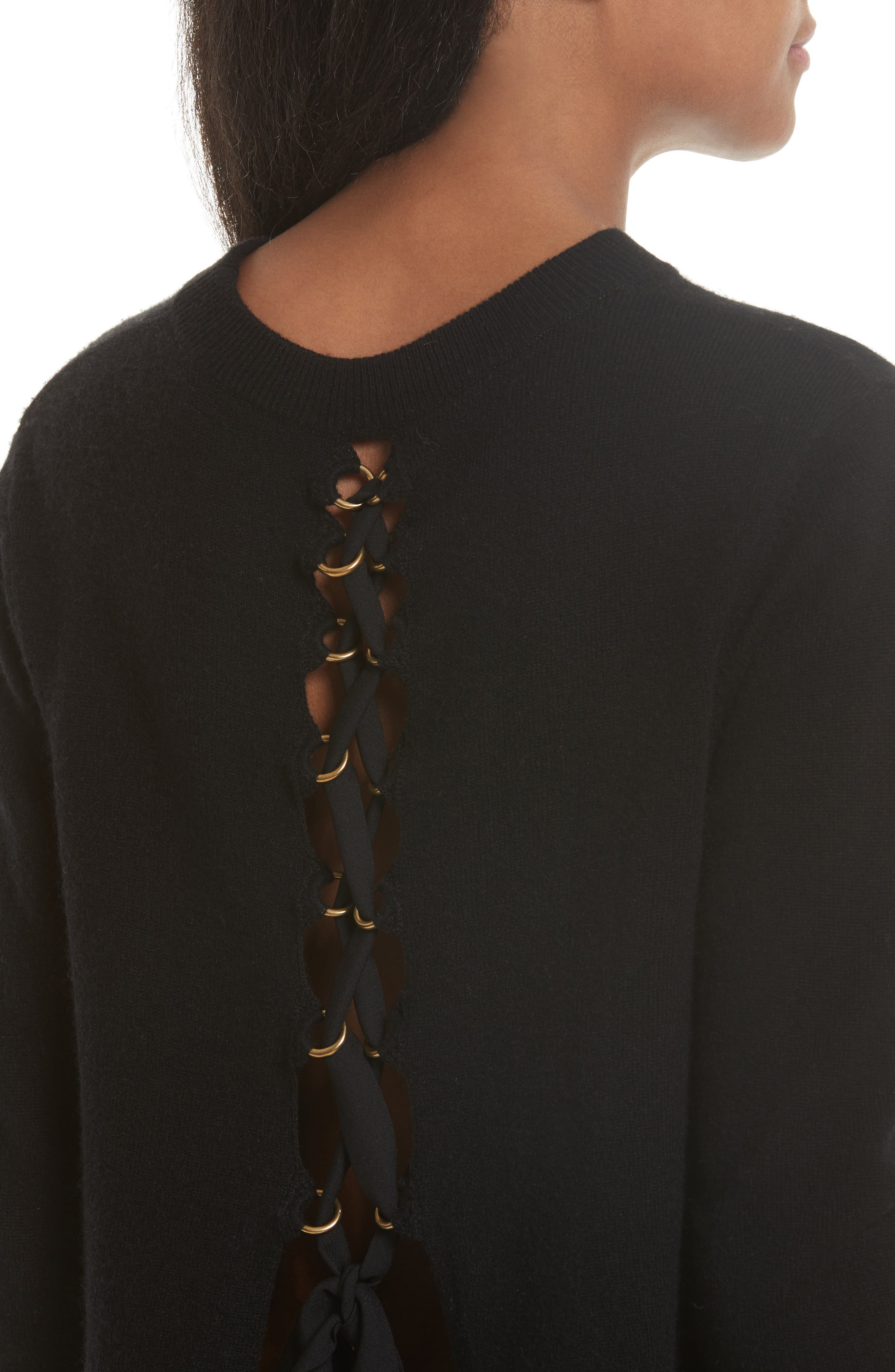 Valerie Lace-Up Wool & Cashmere Sweater,                             Alternate thumbnail 4, color,                             001