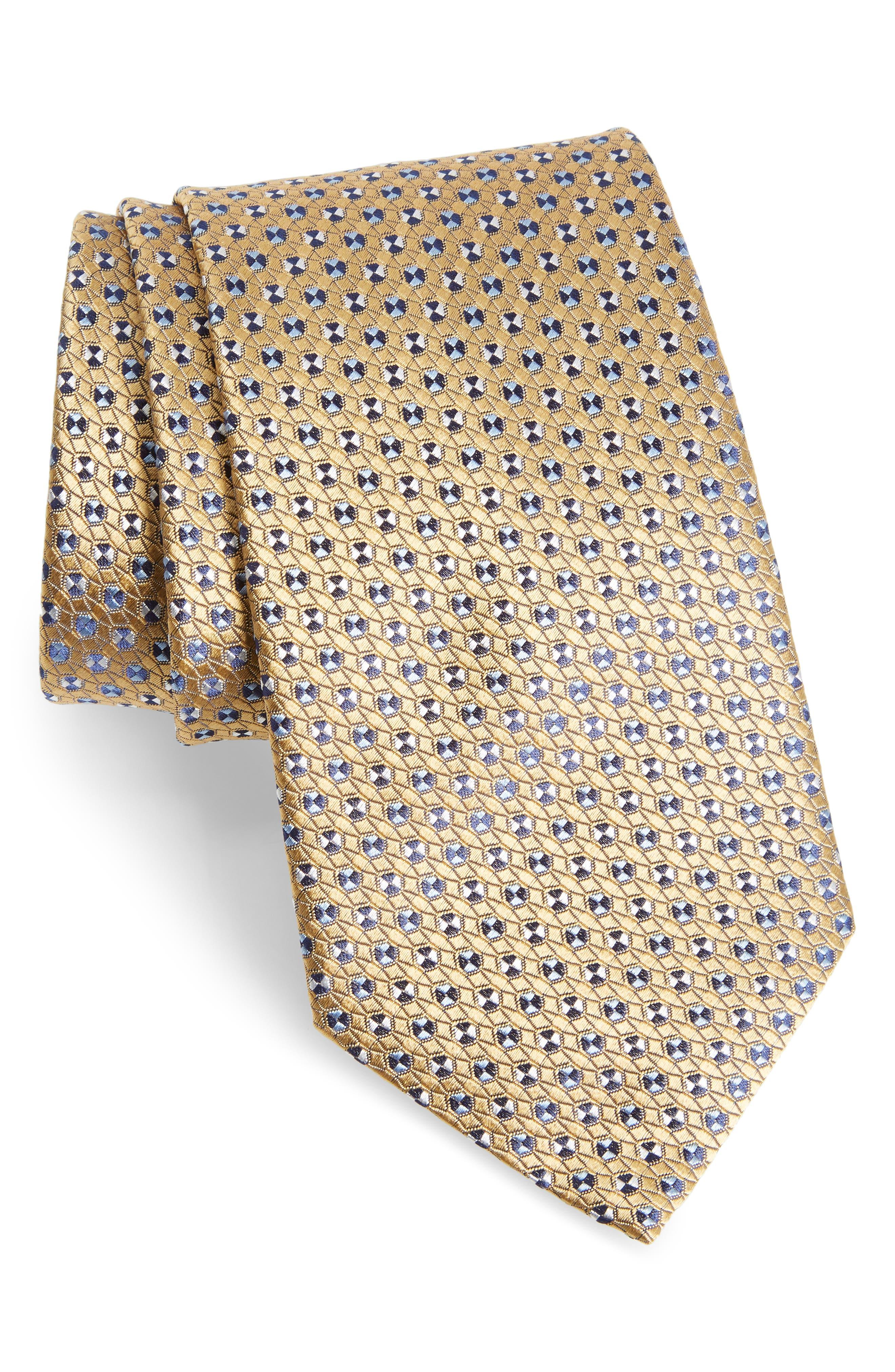 Geometric Silk Tie,                             Main thumbnail 1, color,                             YELLOW