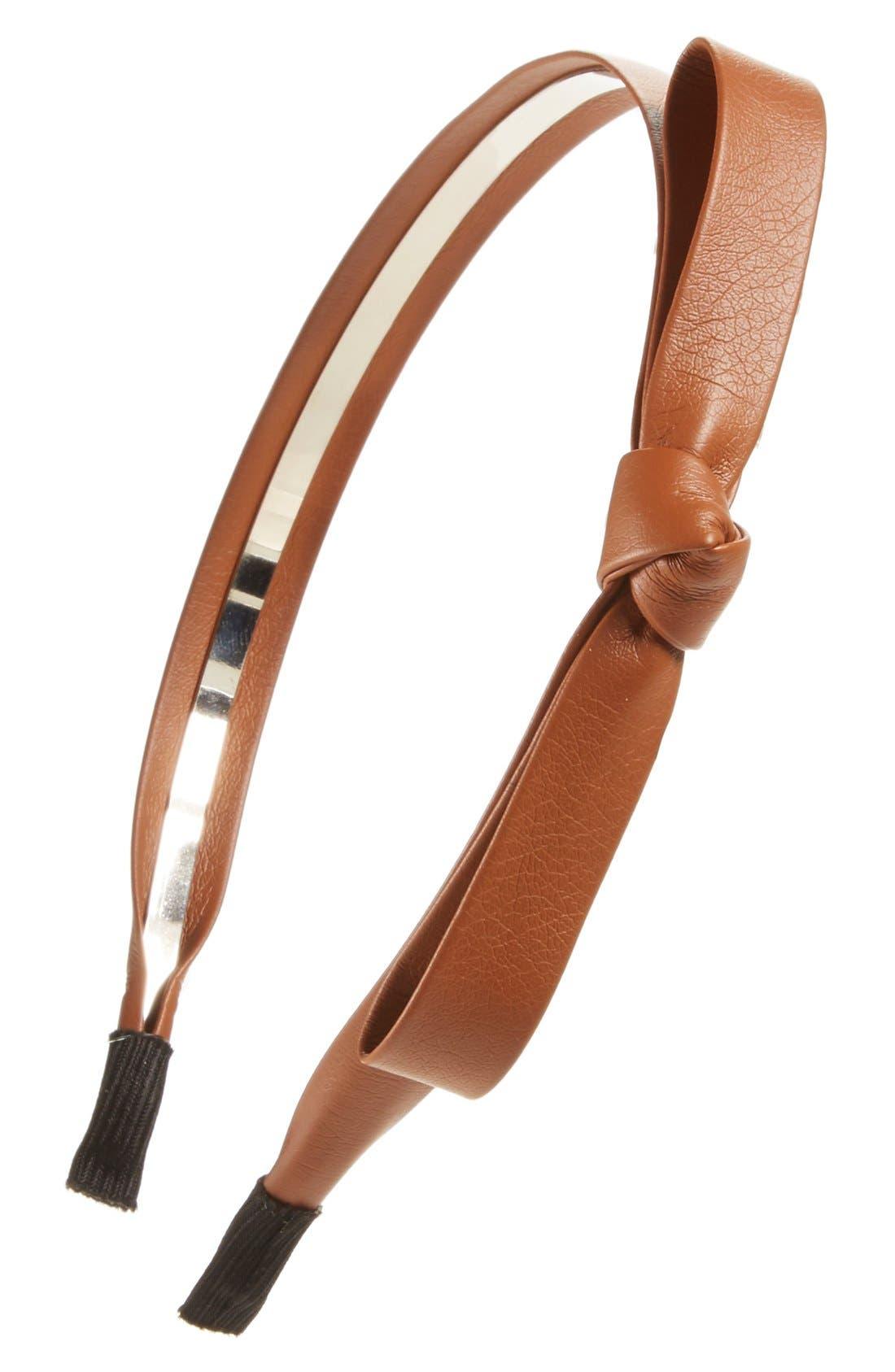 Faux Leather Bow Headband,                             Main thumbnail 2, color,
