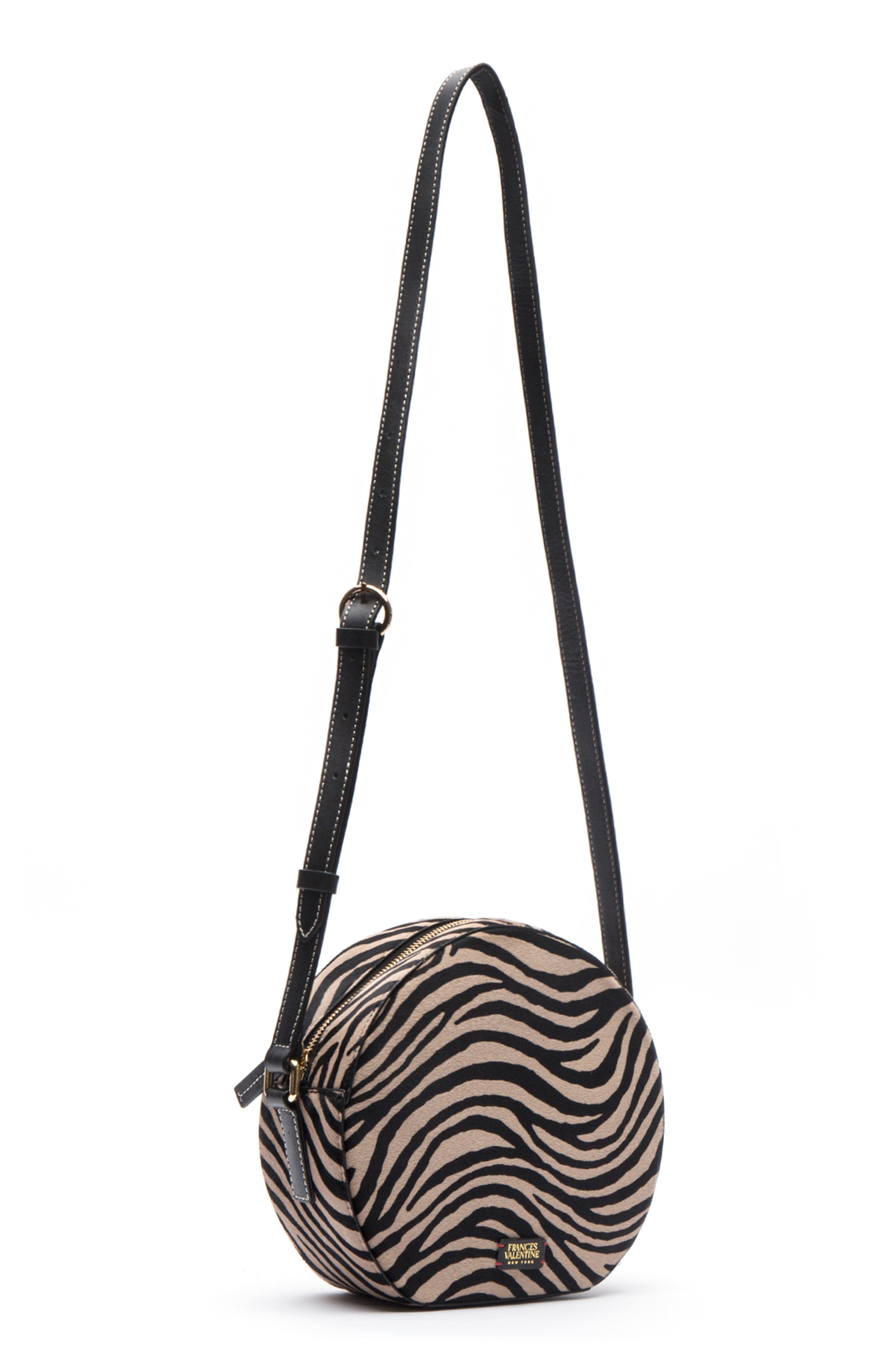 Frances Valetine Lulu Genuine Calf Hair Round Crossbody Bag,                             Alternate thumbnail 4, color,                             ZEBRA