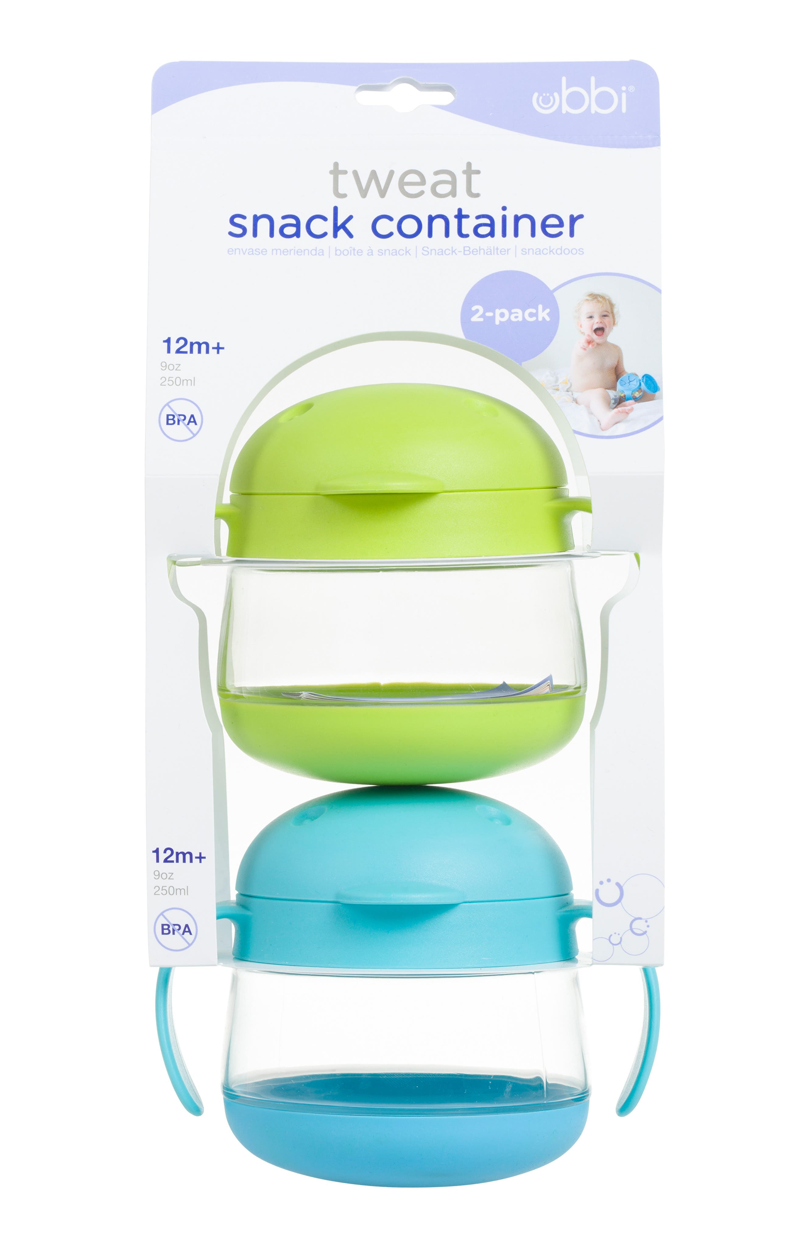 Tweat 2-Pack Snack Container,                             Main thumbnail 1, color,                             GREEN/ BLUE
